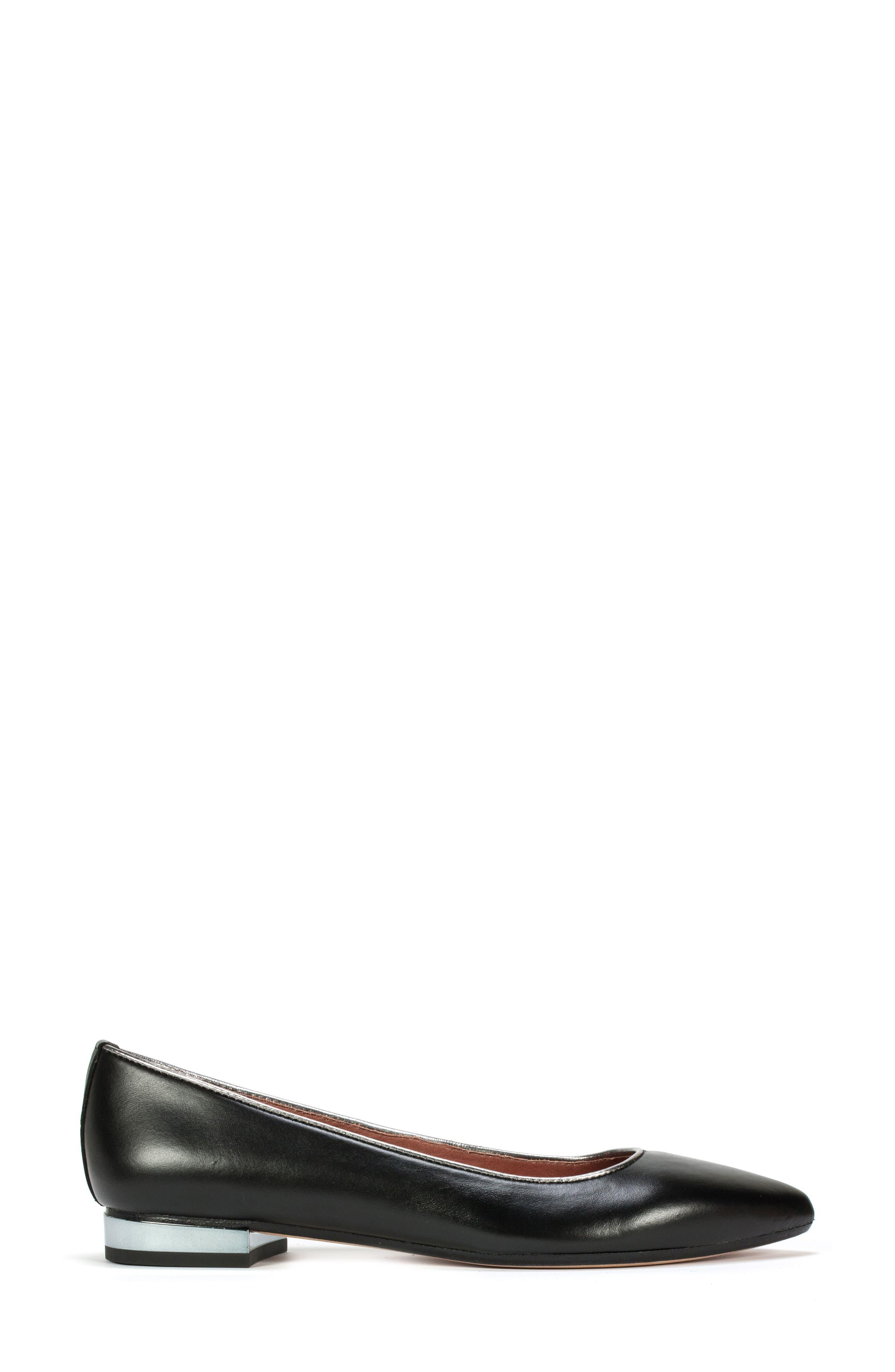 Karolina Flat,                             Alternate thumbnail 3, color,                             Black Leather