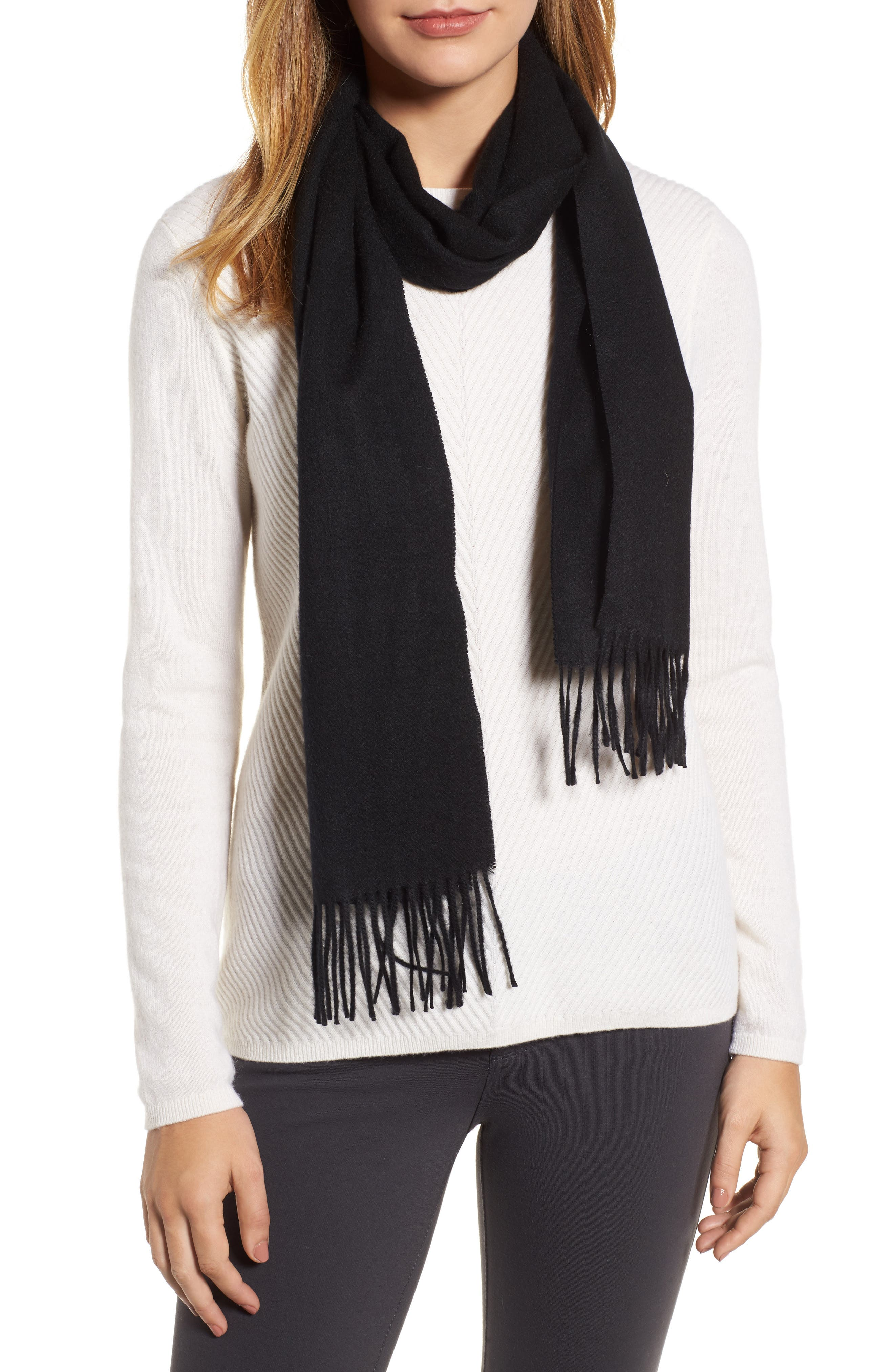 Solid Woven Cashmere Scarf,                         Main,                         color, Black