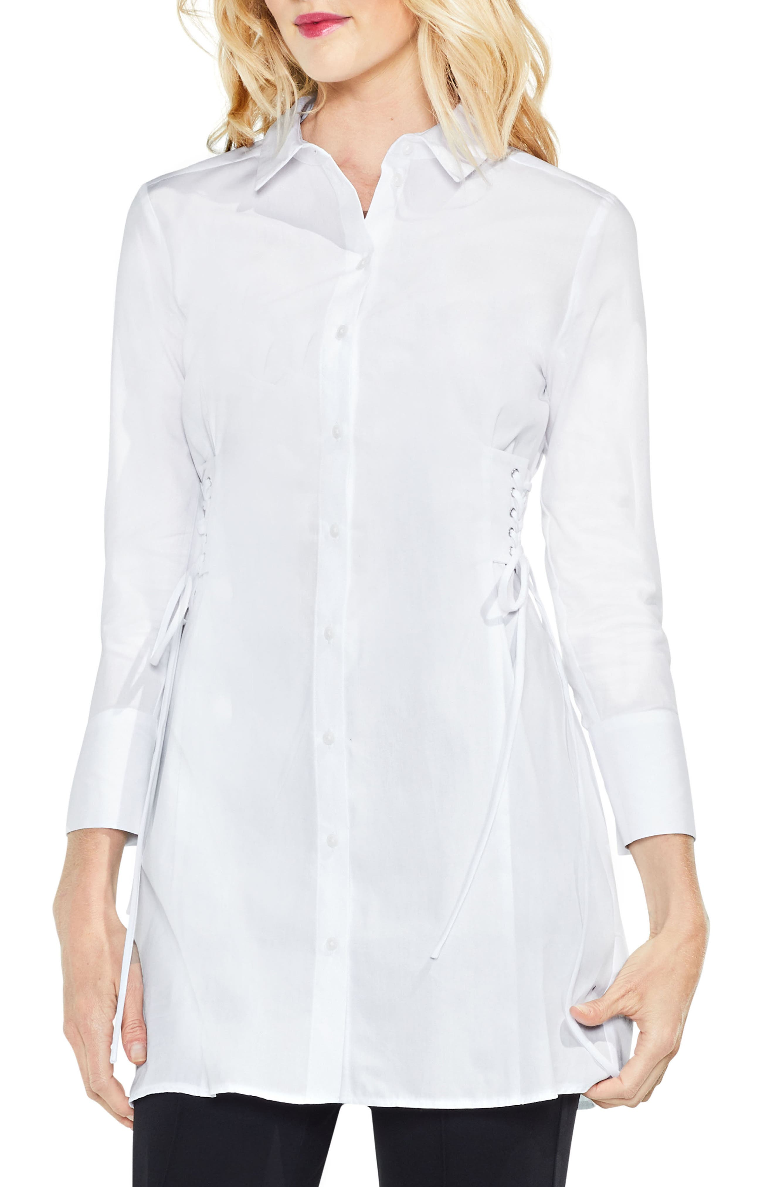 Side Lace-Up Tunic Shirt,                         Main,                         color, Ultra White