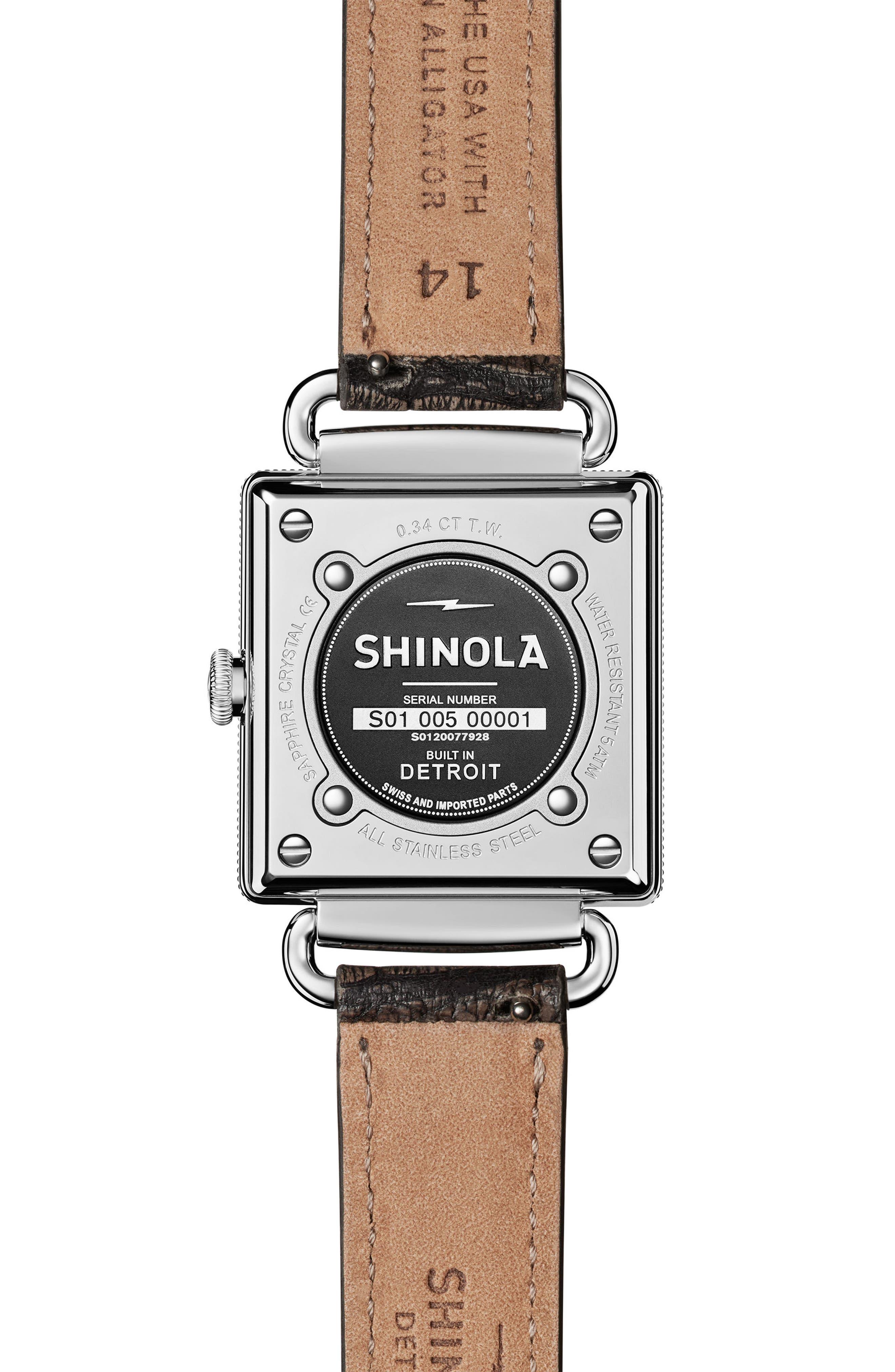 Alternate Image 3  - Shinola Cass Diamond Leather Strap Watch, 28mm x 27mm