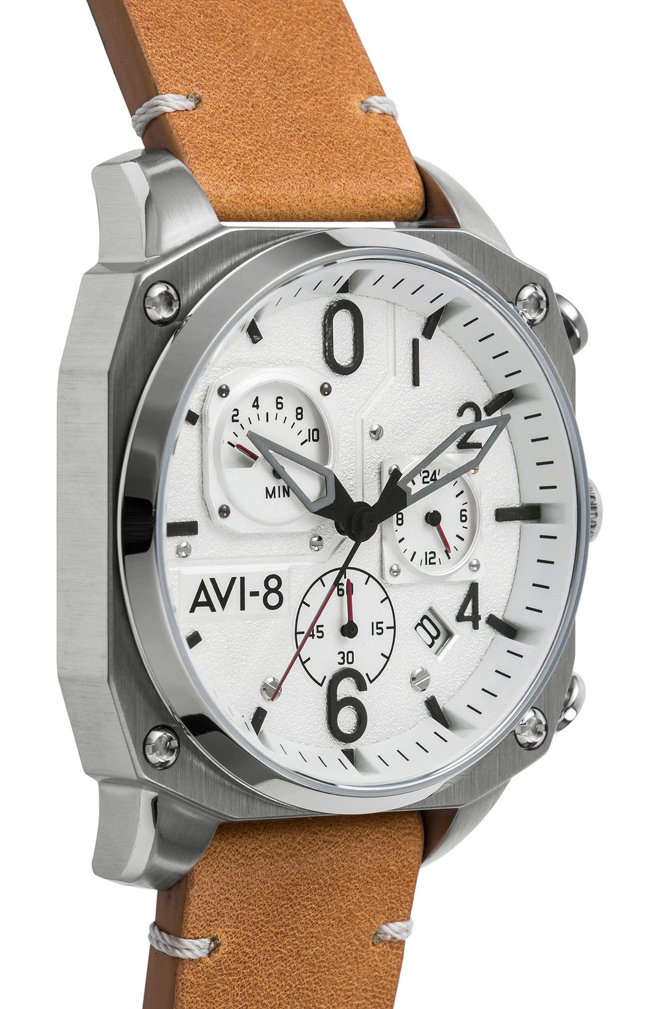 Alternate Image 4  - AVI-8 Hawker Hunter Chronograph Leather Strap Watch, 45mm