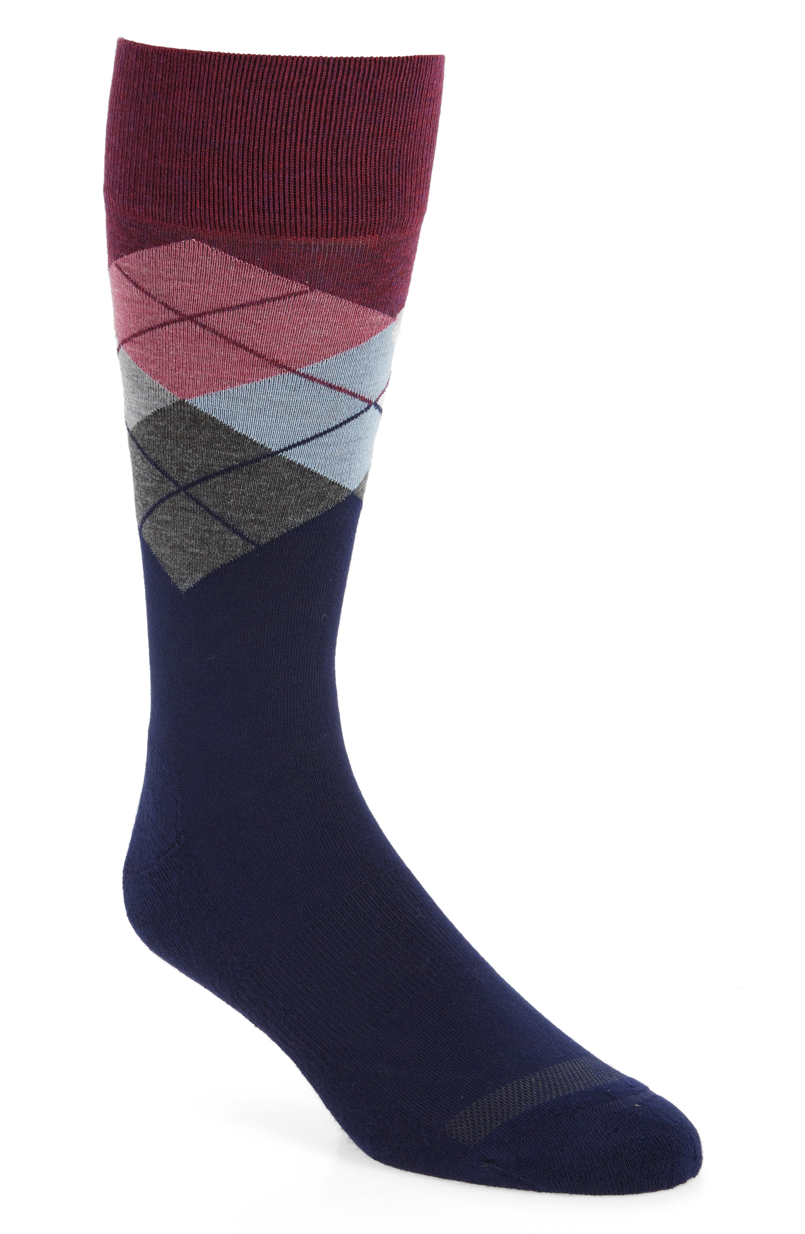 Argyle Socks,                         Main,                         color, Burgundy