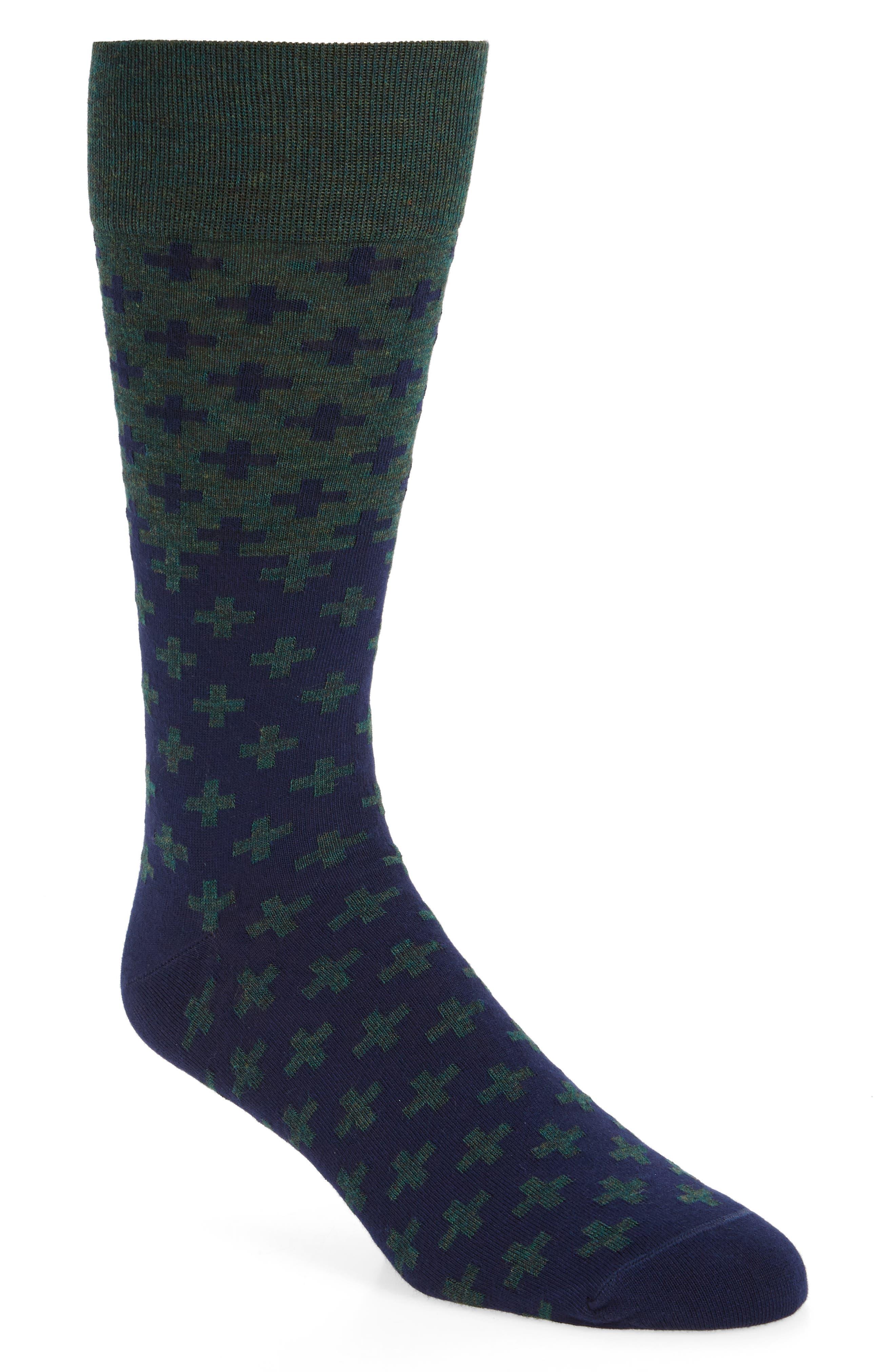 Cross Socks,                             Main thumbnail 1, color,                             Green Sycamore