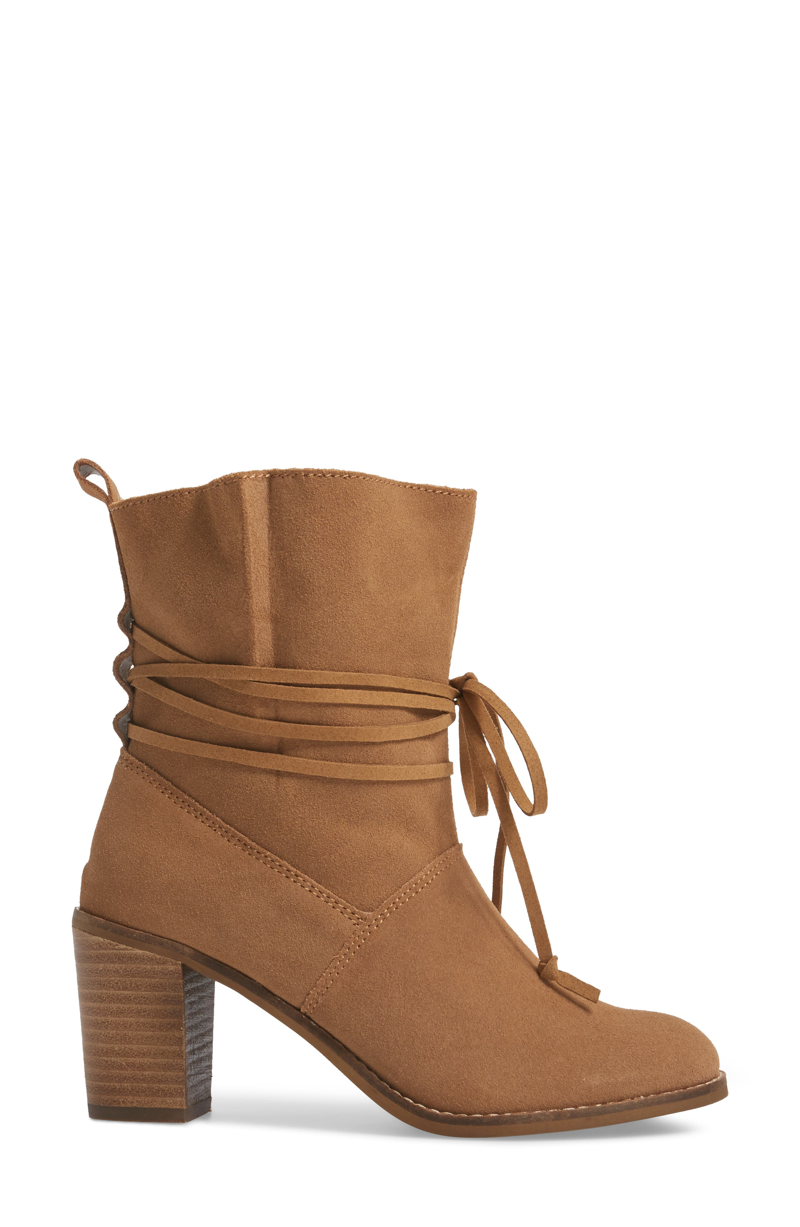 Mila Bootie,                             Alternate thumbnail 3, color,                             Toffee Suede