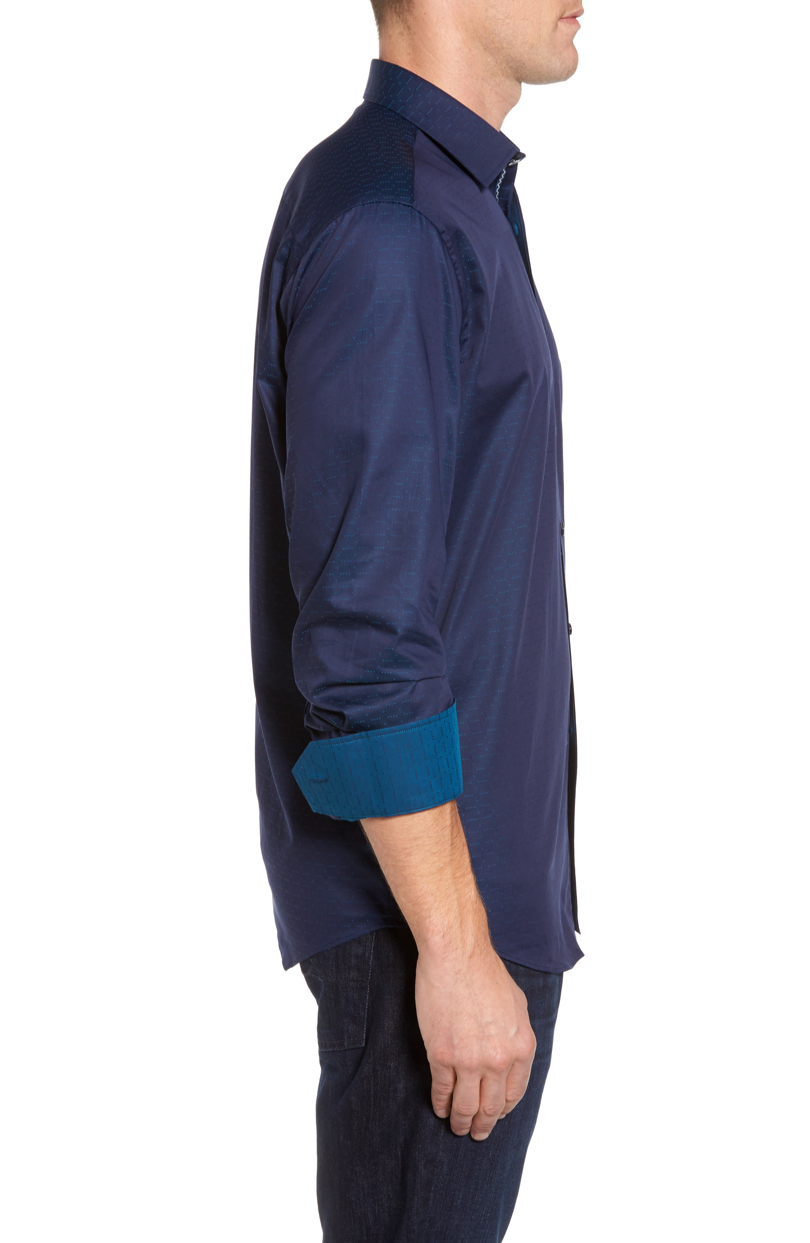 Classic Fit Square Dobby Sport Shirt,                             Alternate thumbnail 3, color,                             Midnight