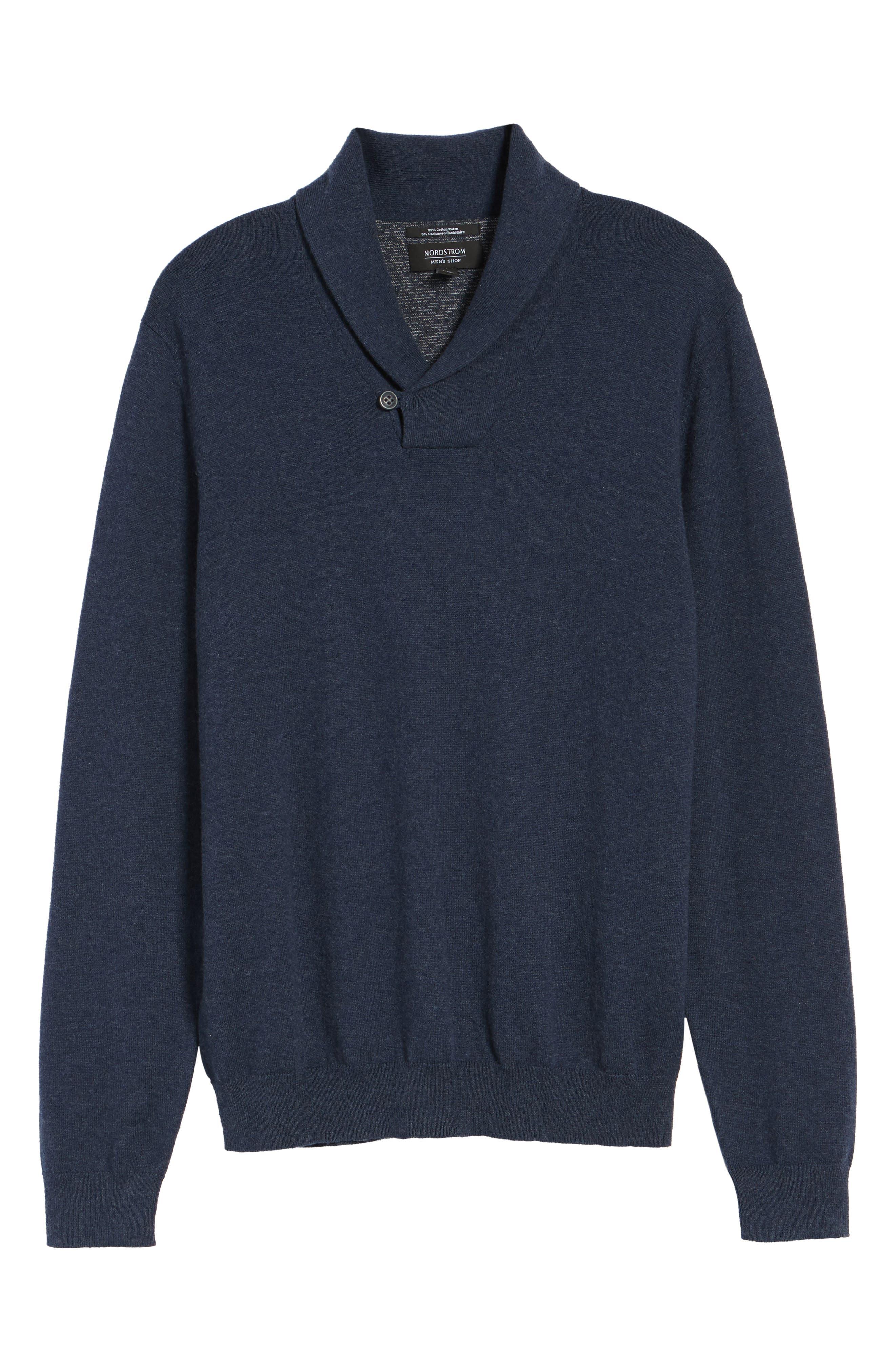 Alternate Image 6  - Nordstrom Men's Shop Cotton & Cashmere Shawl Collar Sweater (Regular & Tall)
