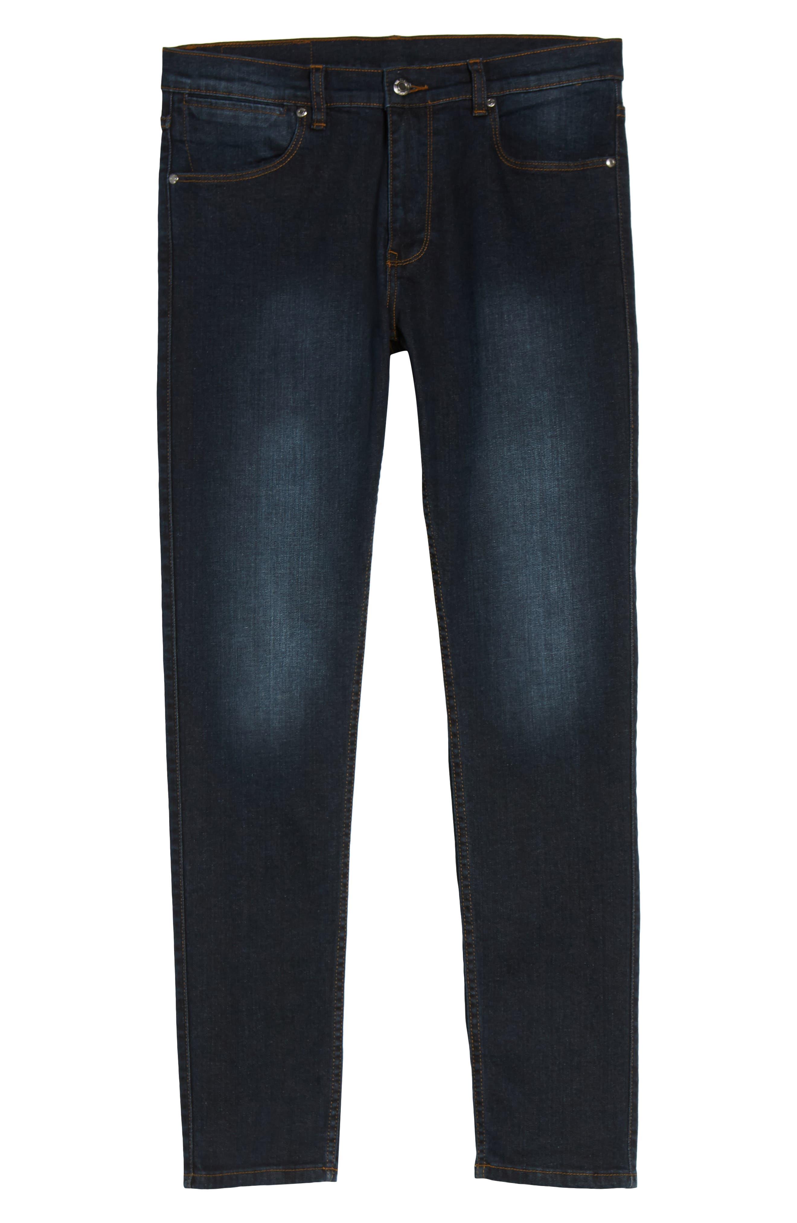 Clark Sim Straight Fit Jeans,                             Alternate thumbnail 6, color,                             Worn Dark Blue