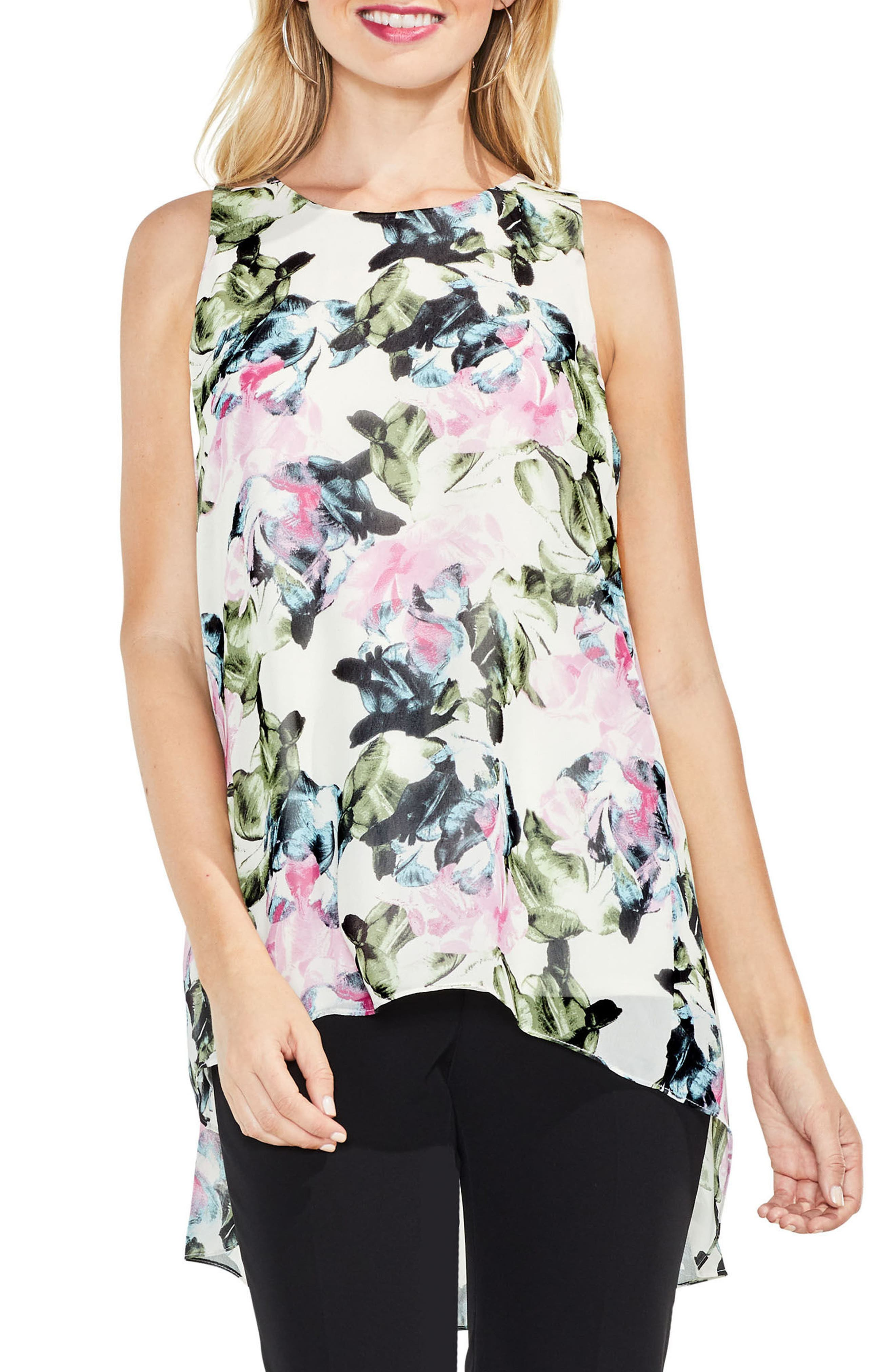 Main Image - Vince Camuto Glacier Floral Pleated Back Top