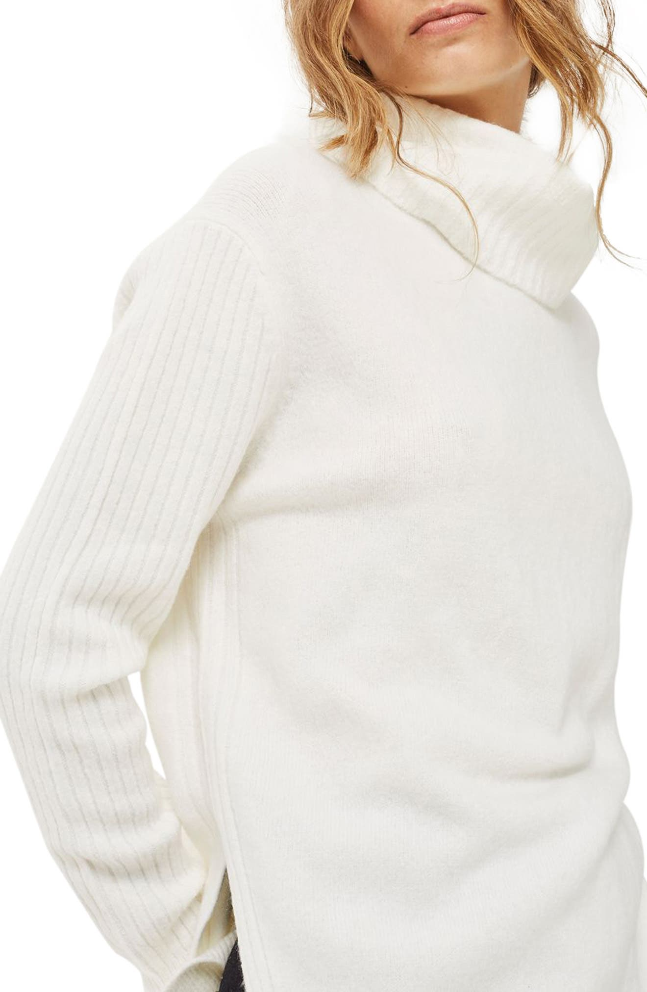Oversize Turtleneck Sweater,                             Alternate thumbnail 2, color,                             Ivory
