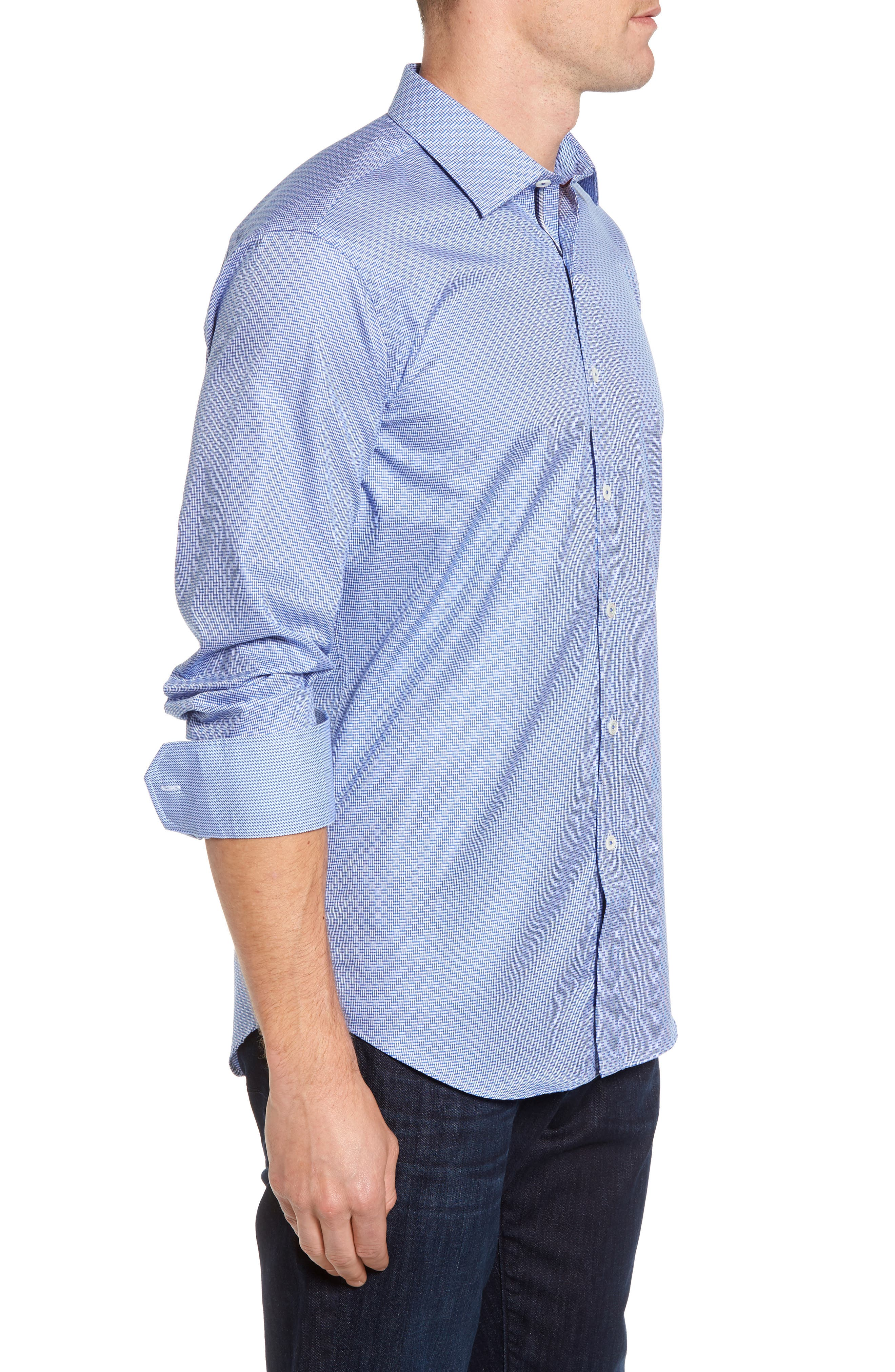 Shaped Fit Sport Shirt,                             Alternate thumbnail 4, color,                             Classic Blue