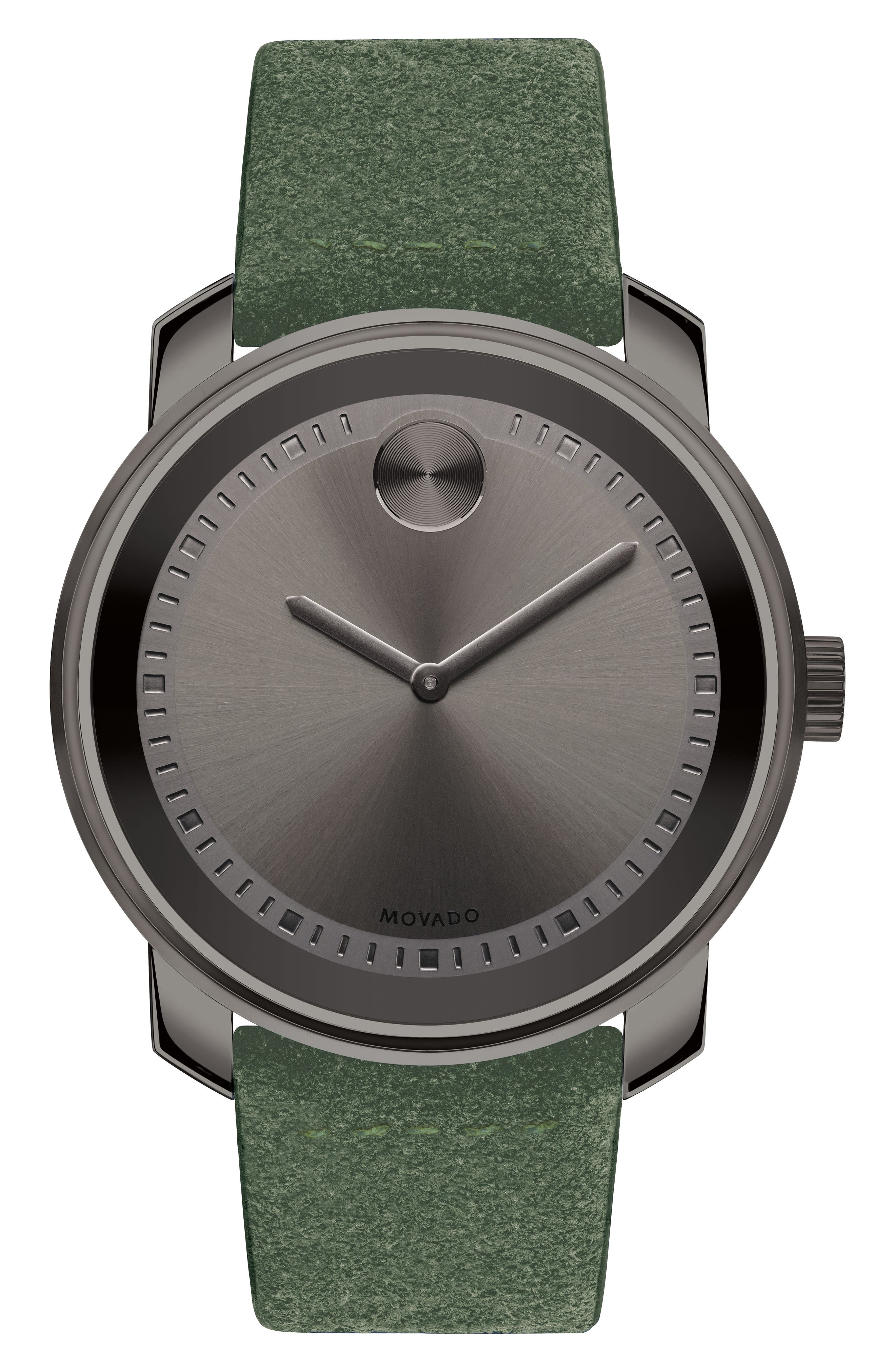 Bold Suede Strap Watch, 42mm,                             Main thumbnail 1, color,                             Green/ Gunmetal