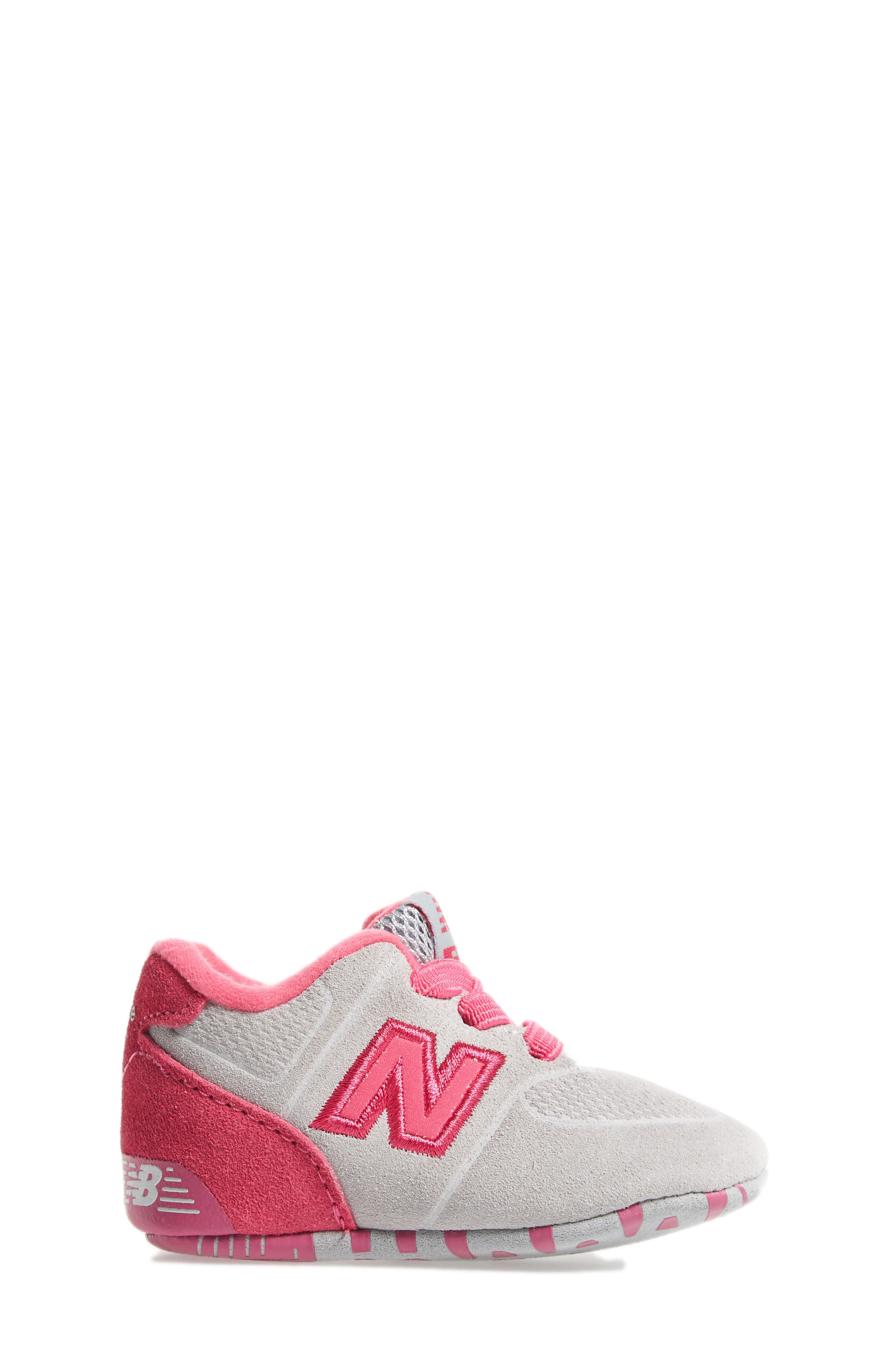 574 Crib Shoe,                             Alternate thumbnail 3, color,                             Pink/ Grey