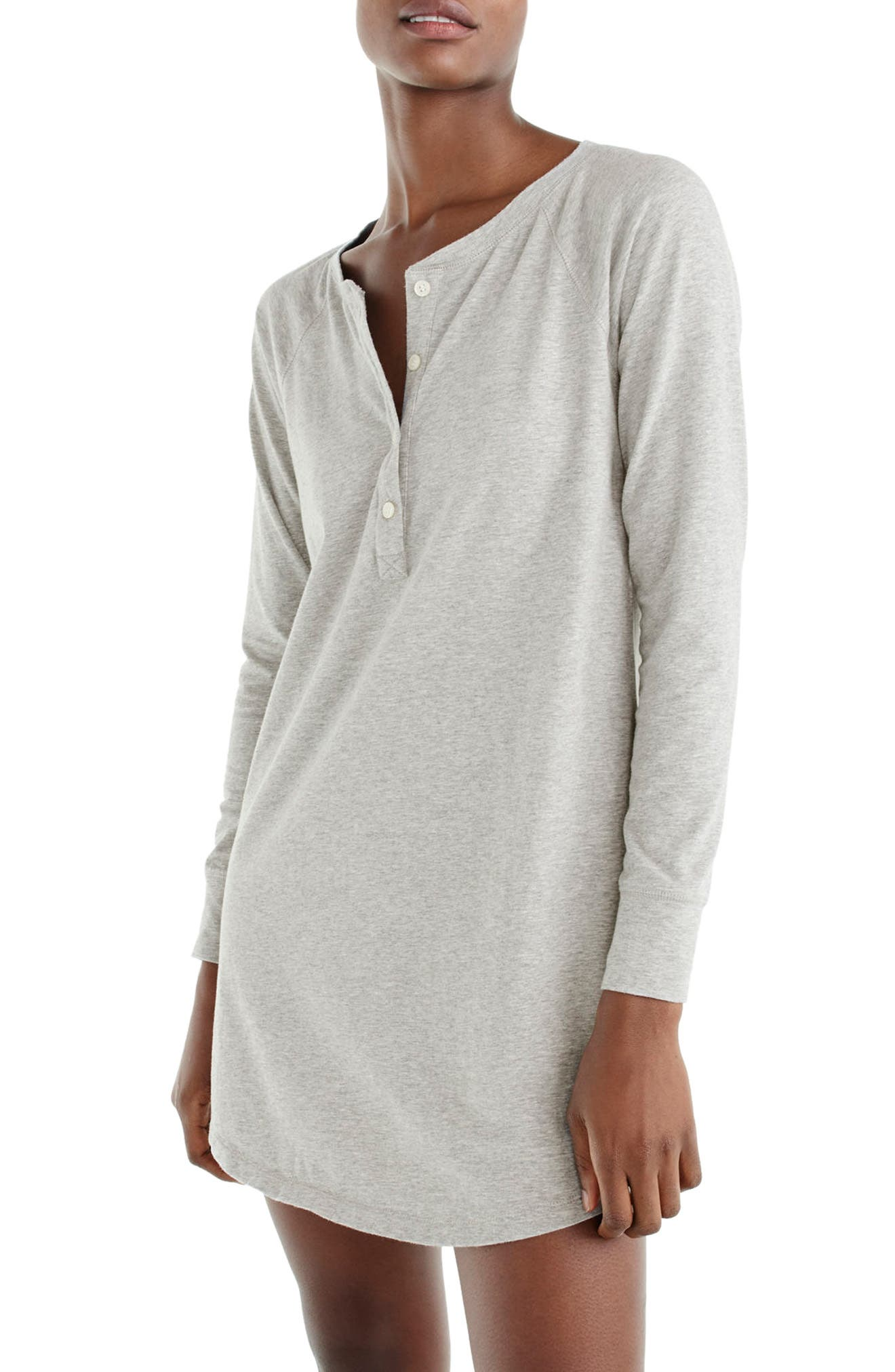 J.Crew Knit Sleep Shirt,                         Main,                         color, Heather Grey