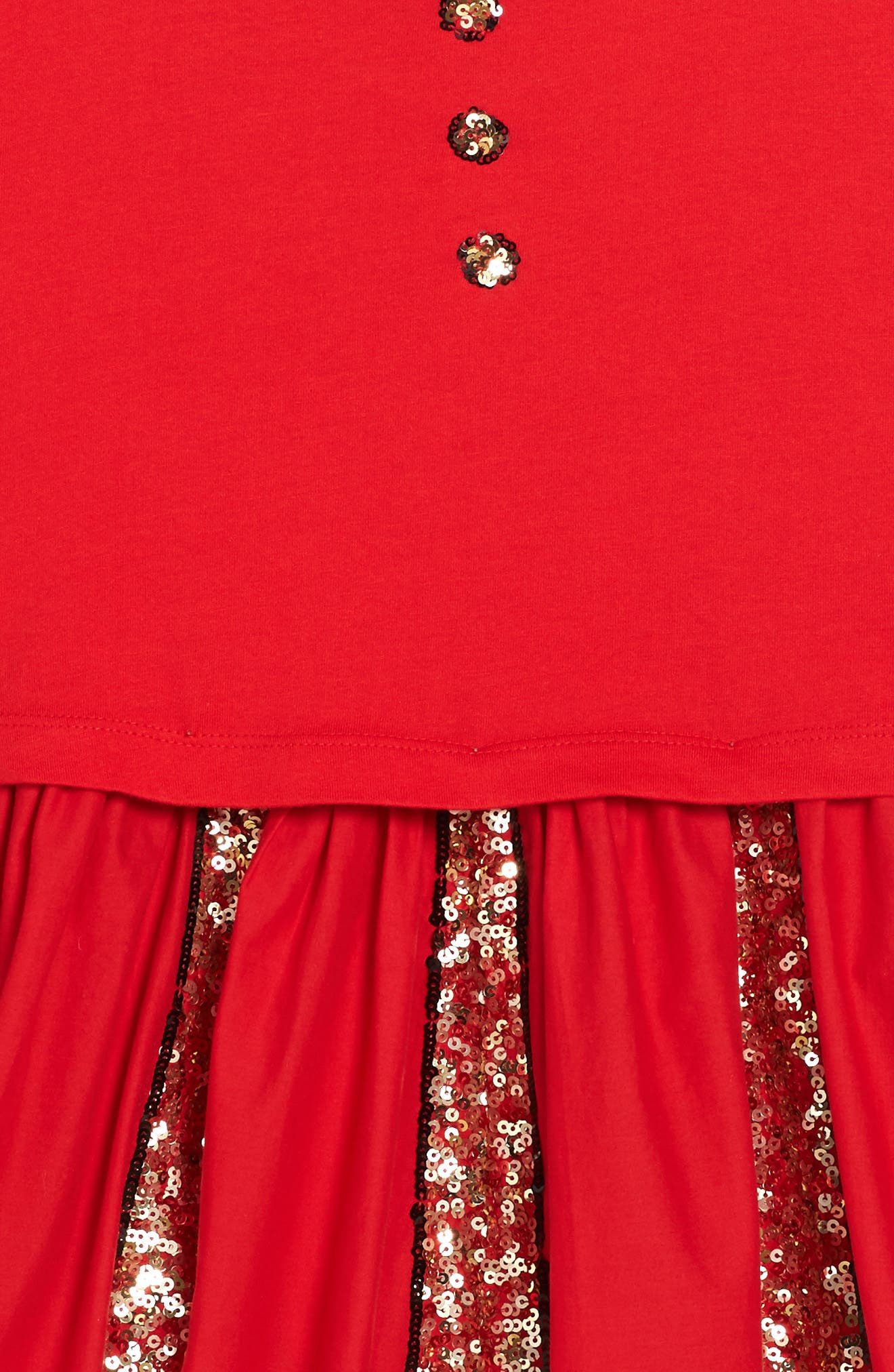 Sequin Skater Dress,                             Alternate thumbnail 3, color,                             Ladybird Red Red