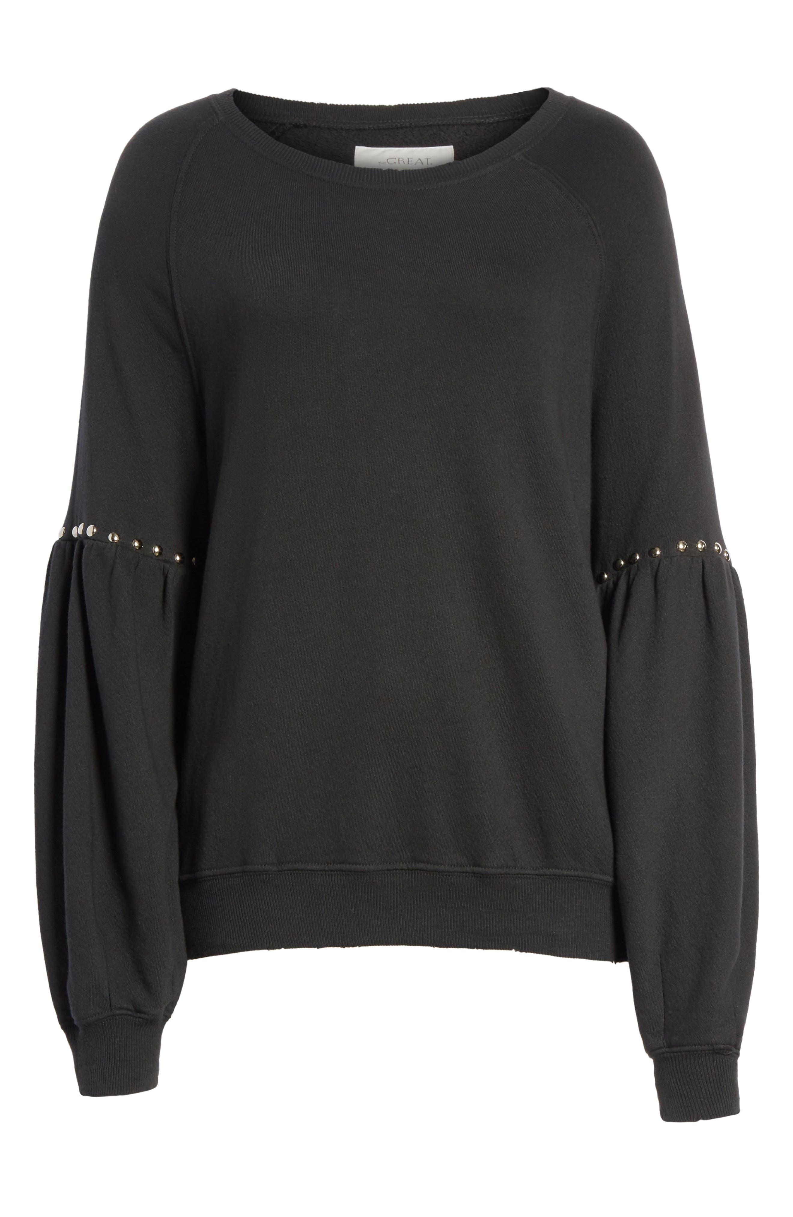 Alternate Image 6  - THE GREAT. The Bishop Sleeve Studded Sweatshirt