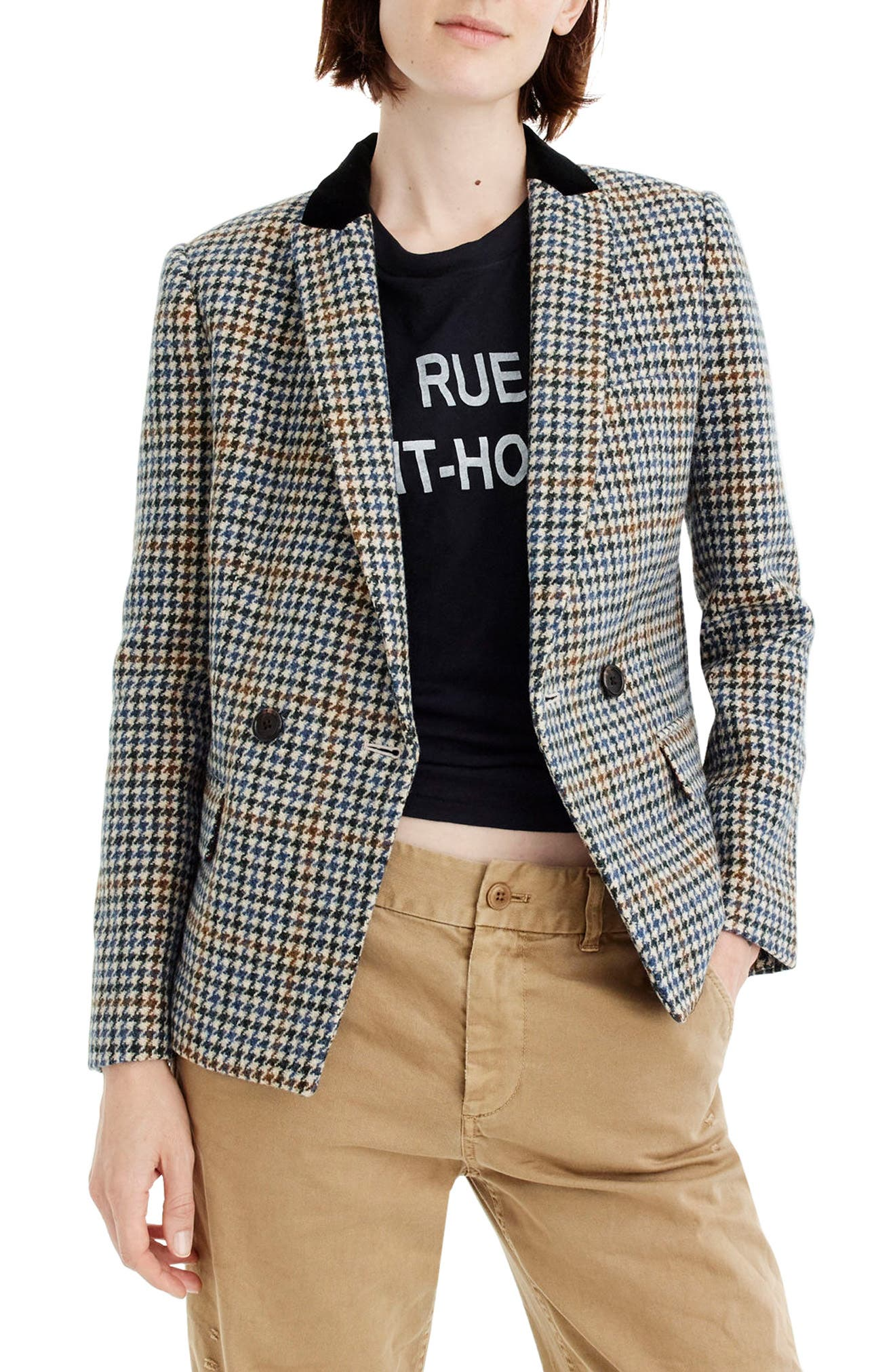 J.Crew Dover Houndstooth Blazer,                         Main,                         color, Navy/ Brown/ Cream