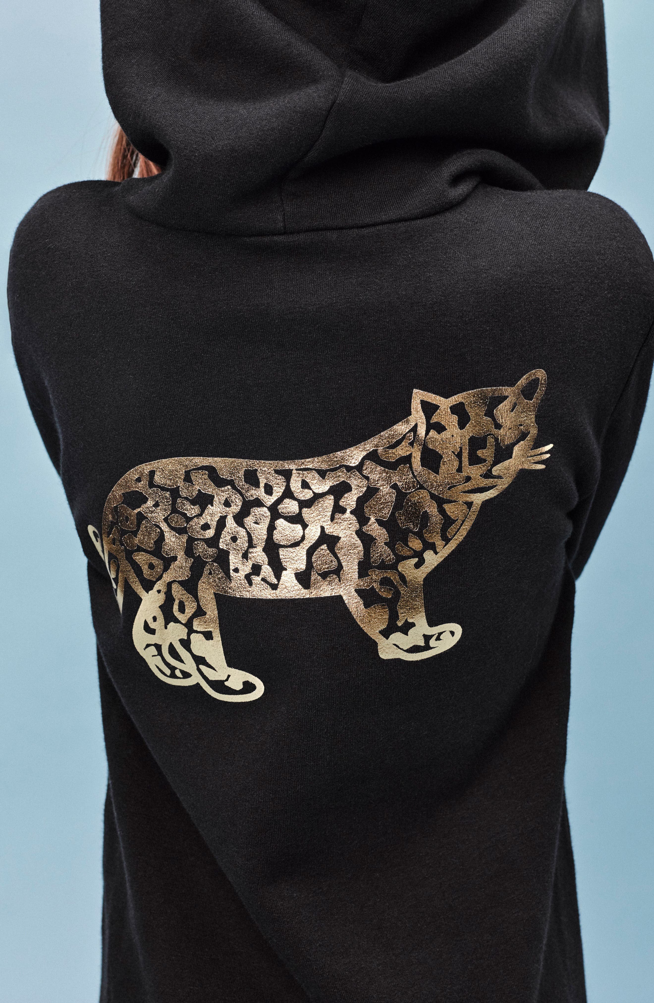 Alternate Image 4  - BERU Luna Hooded Organic Cotton Sweatshirt Dress (Toddler Girls & Little Girls)