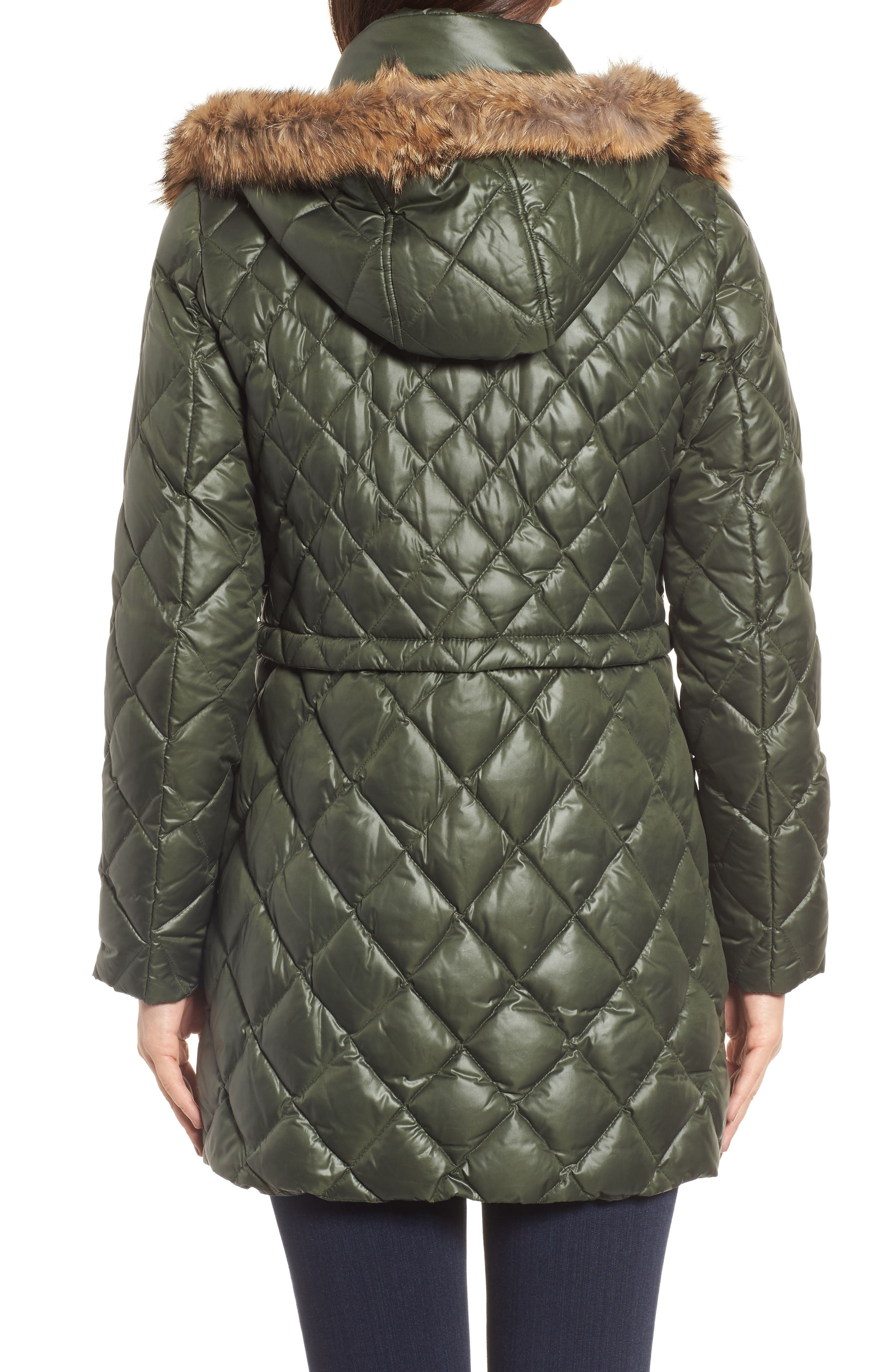 Quilted Anorak with Genuine Coyote Fur,                             Alternate thumbnail 2, color,                             Olive
