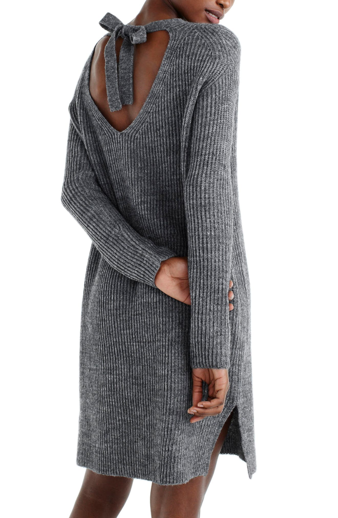 J.Crew Bow Tie Open Back Sweater Dress,                             Alternate thumbnail 2, color,                             Heather Flannel