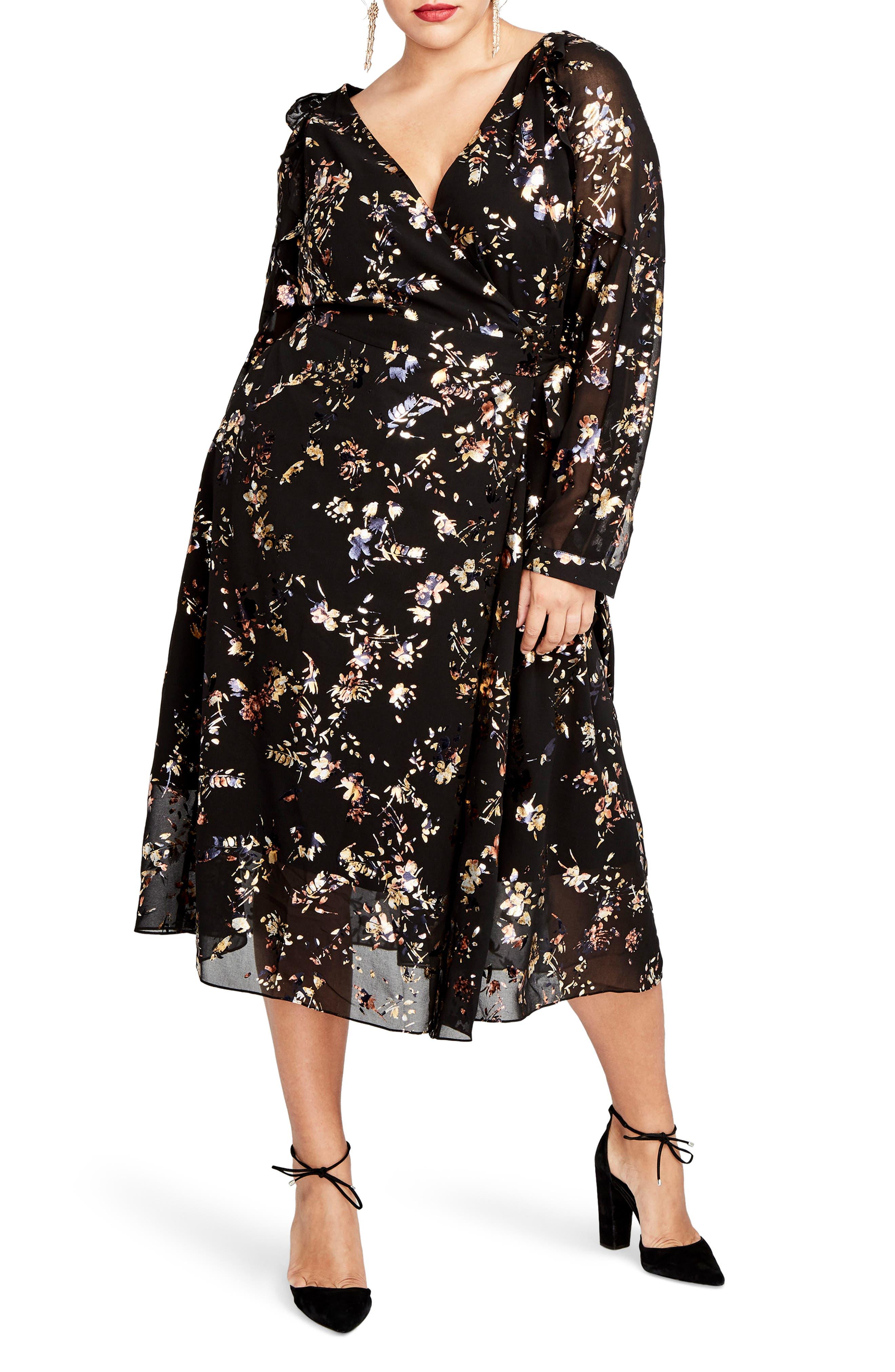 Foiled Floral Faux Wrap Dress,                         Main,                         color, Black Combo