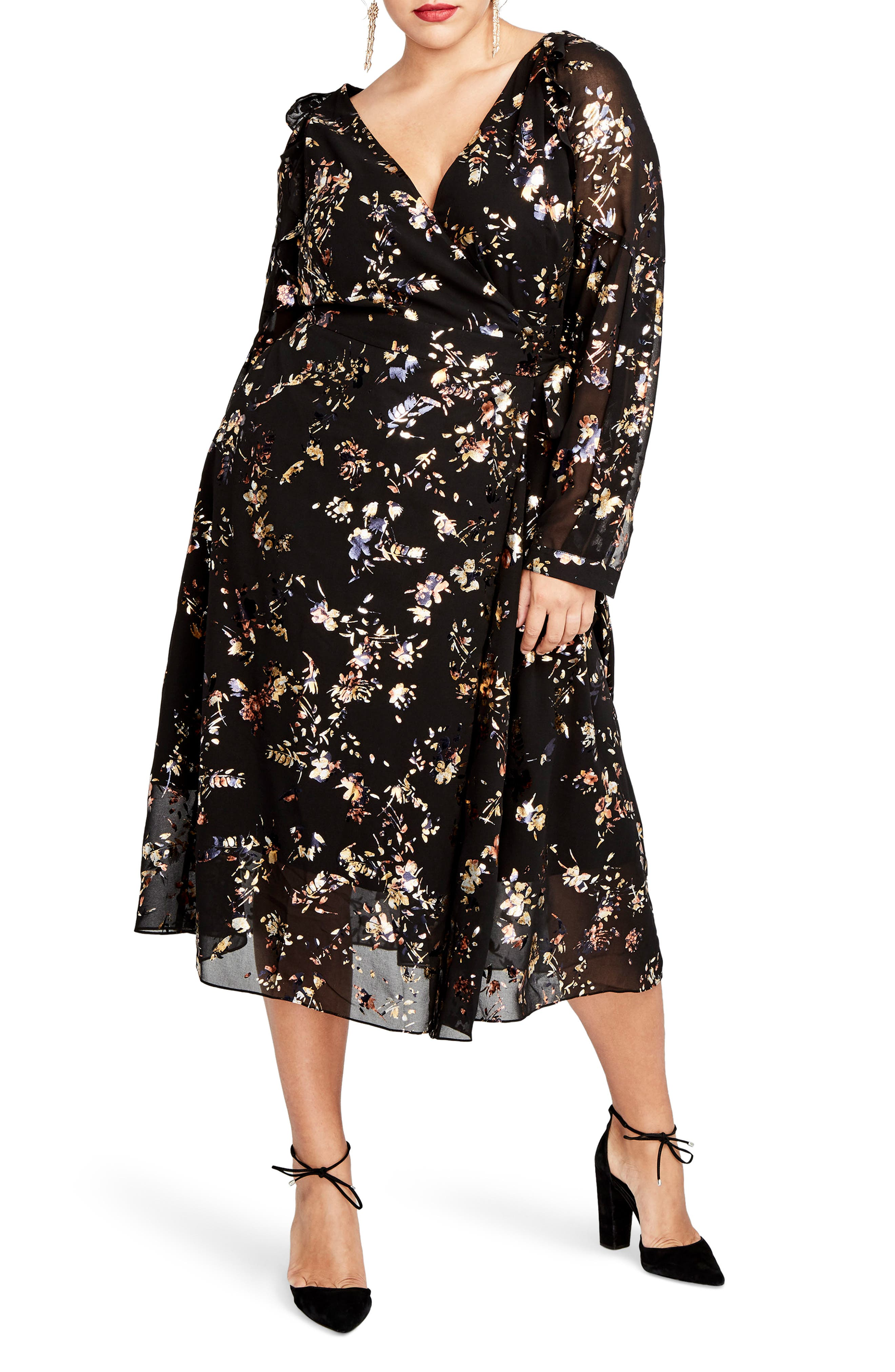 RACHEL Rachel Roy Foiled Floral Faux Wrap Dress (Plus Size)
