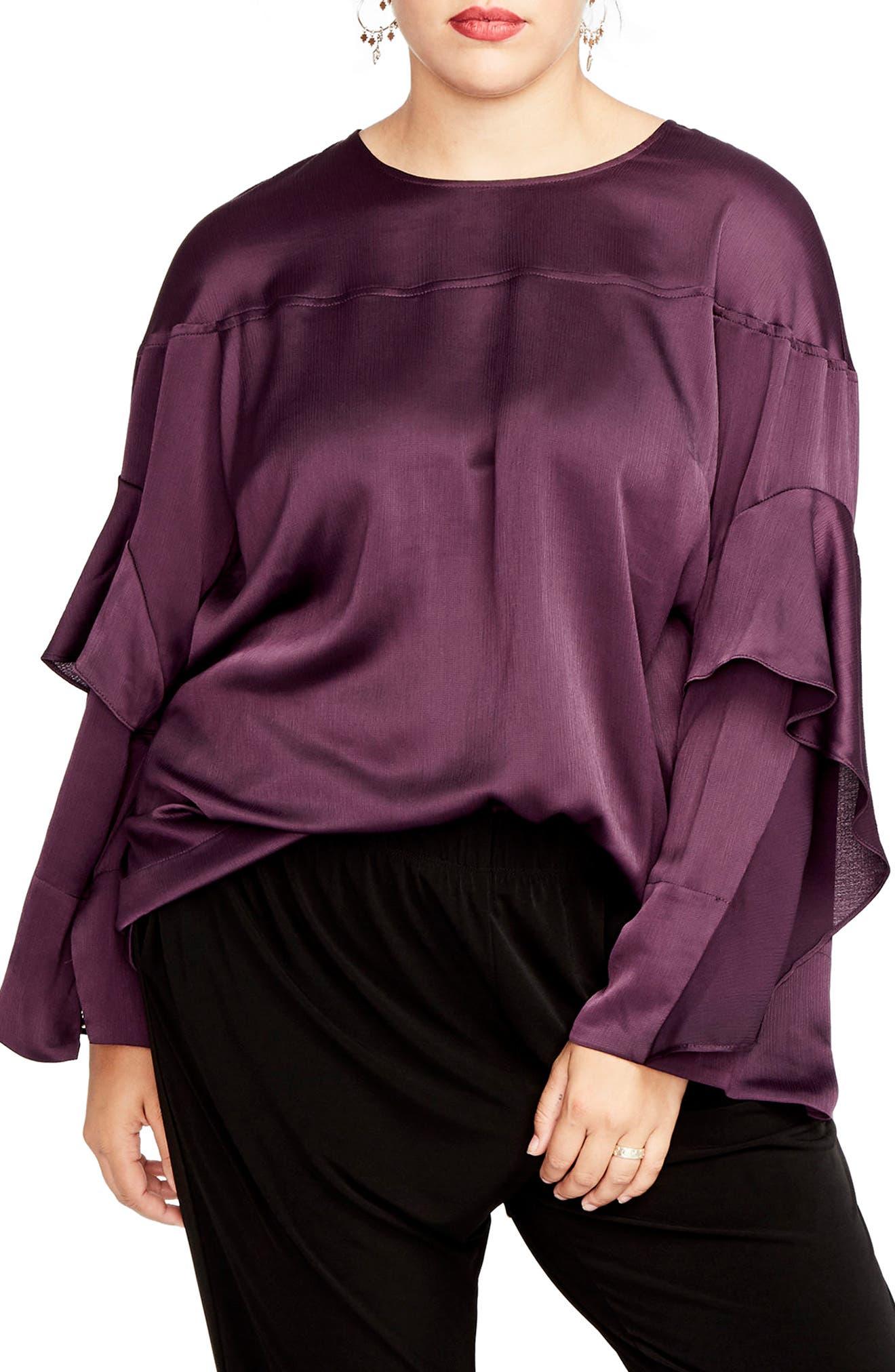 Ruffled Bell Sleeve Blouse,                         Main,                         color, Eggplant