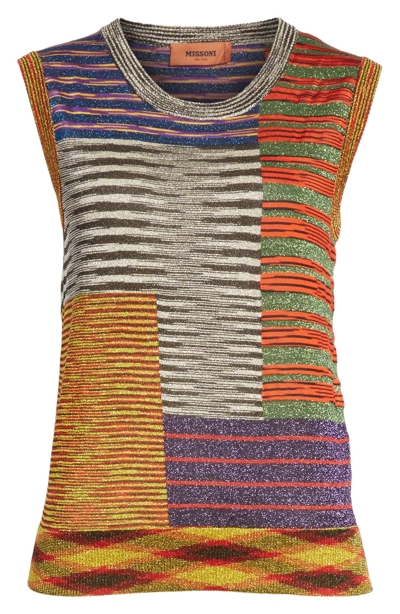 Stripe Space Dye Knit Tank,                             Alternate thumbnail 6, color,                             Multi