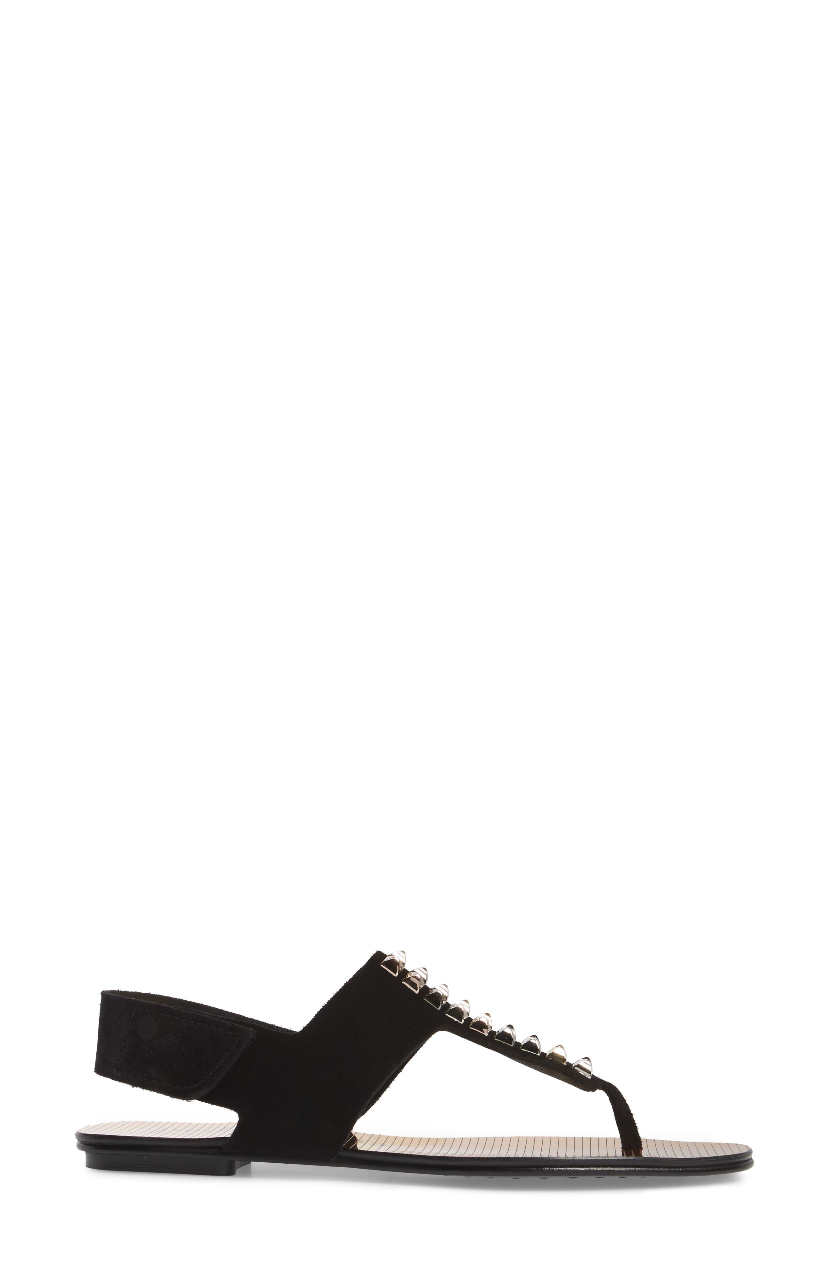 Enid Studded T-Strap Sandal,                             Alternate thumbnail 3, color,                             Black Castoro/ Gold