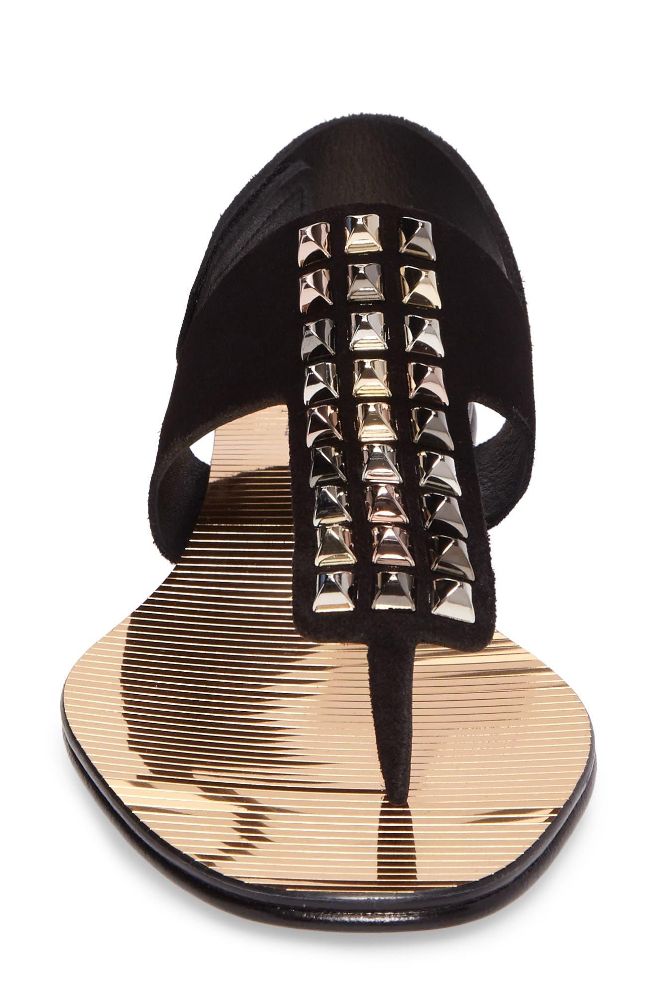 Enid Studded T-Strap Sandal,                             Alternate thumbnail 4, color,                             Black Castoro/ Gold