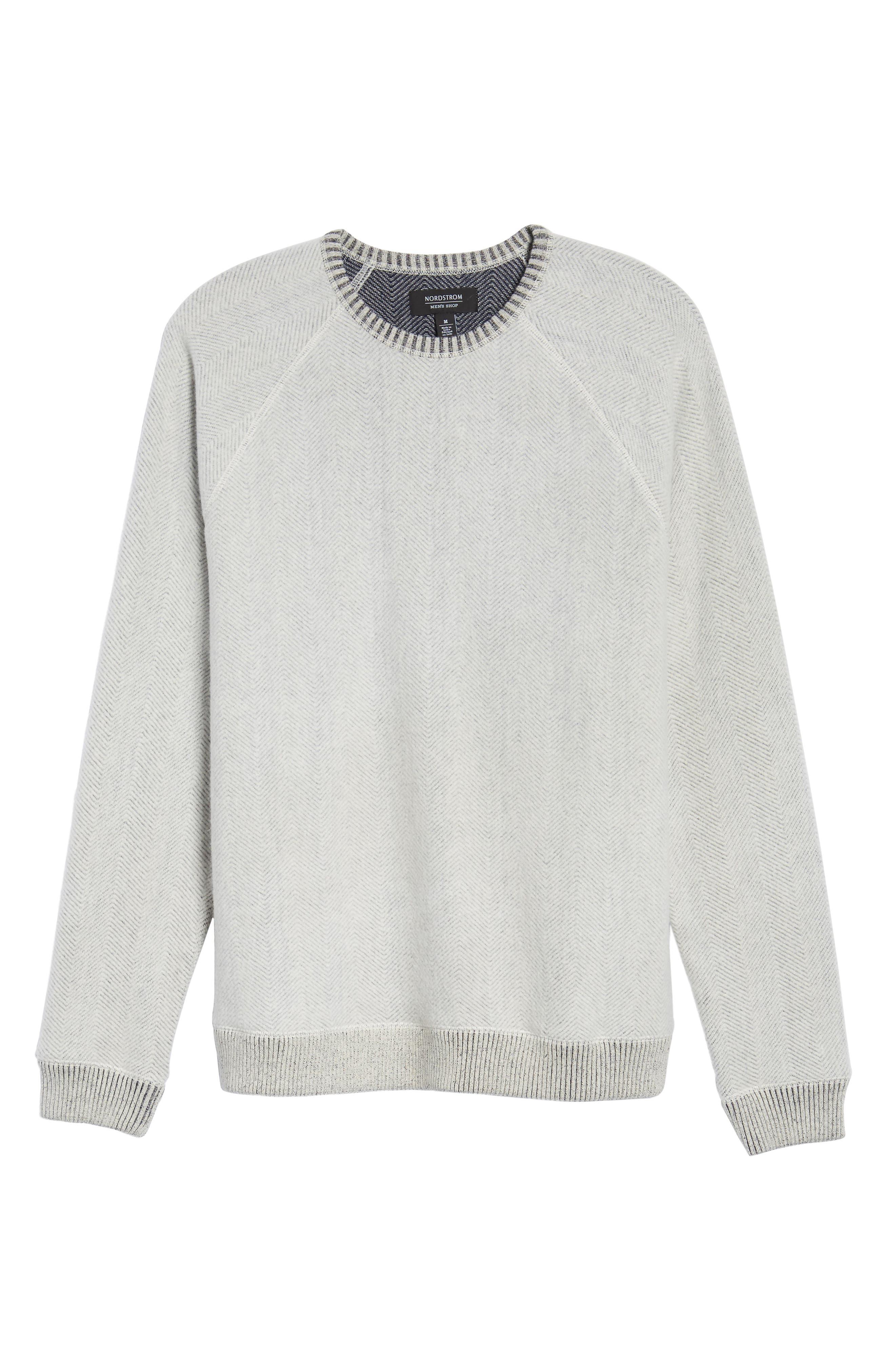 Brushed Fleece Sweatshirt,                             Alternate thumbnail 6, color,                             Ivory Egret