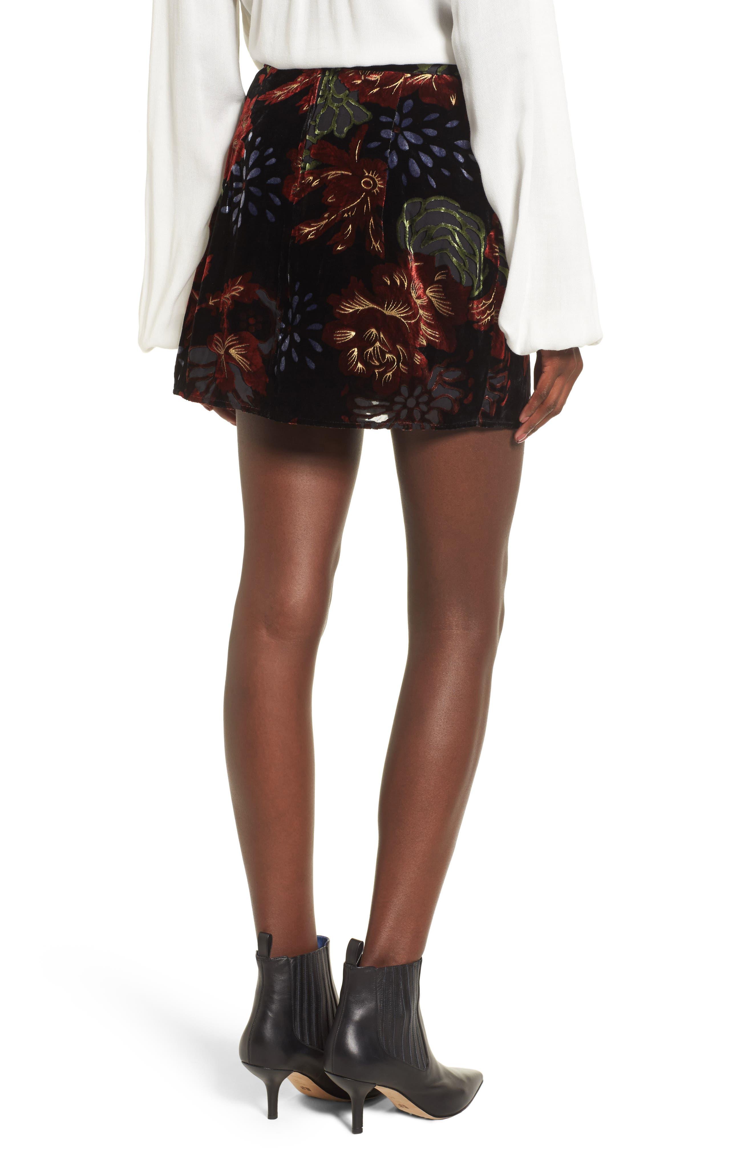 Romantic Burnout Miniskirt,                             Alternate thumbnail 2, color,                             Black Brick