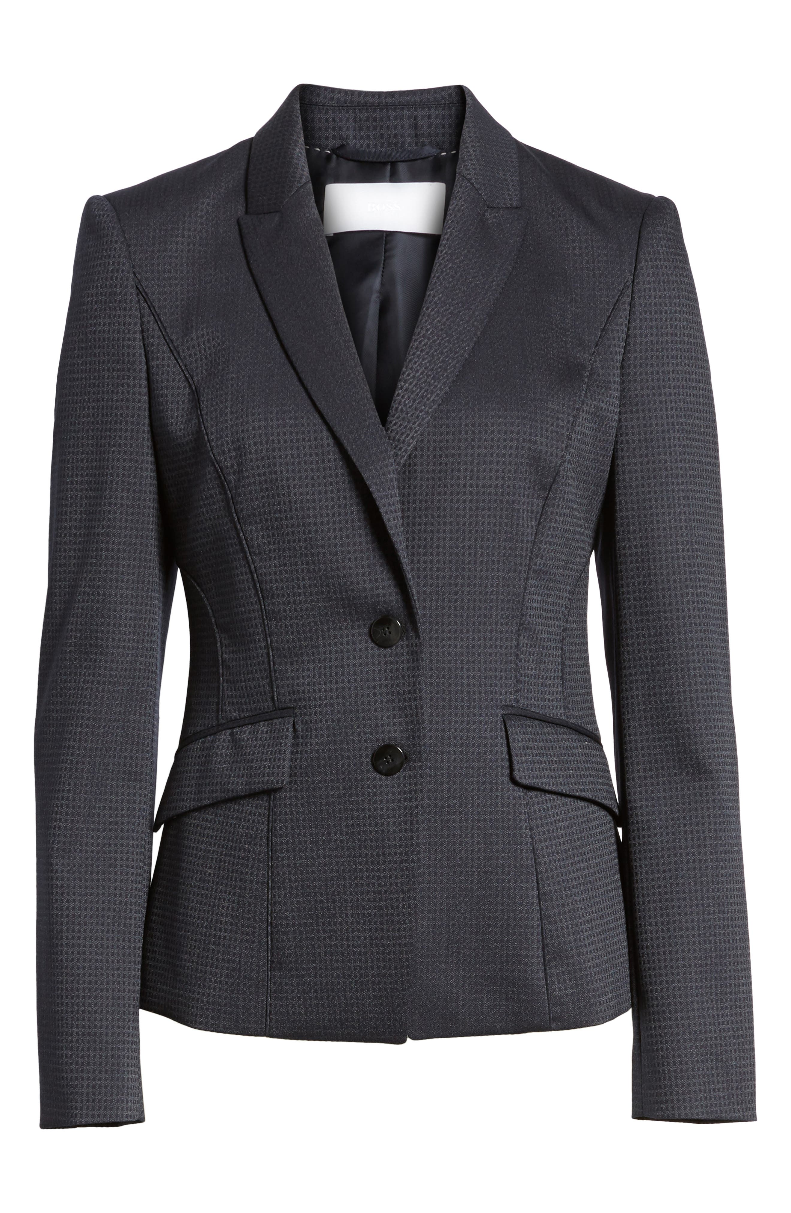 Alternate Image 1 Selected - BOSS Jukani Check Wool Blend Suit Jacket (Petite)
