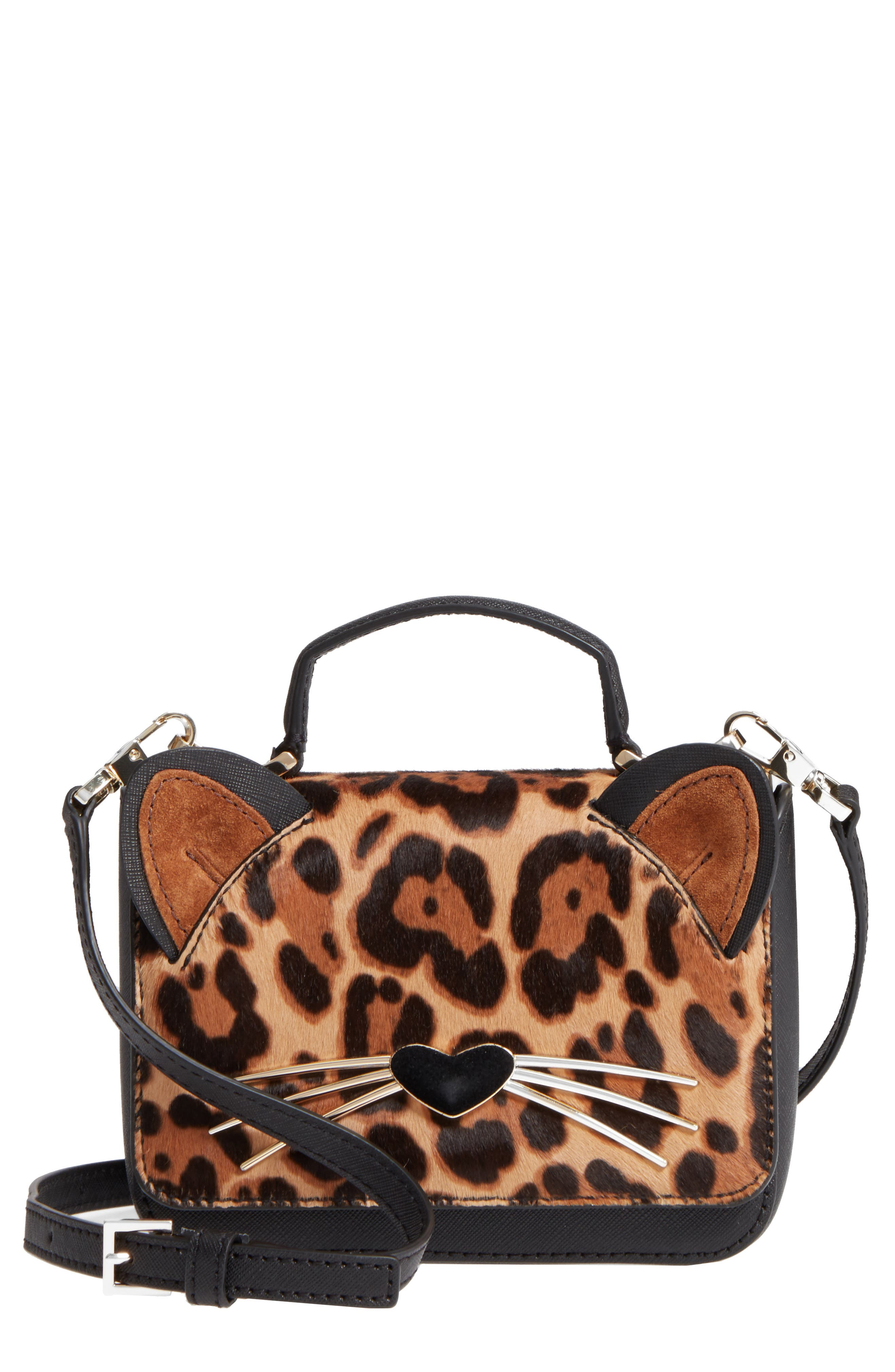 Main Image - kate spade new york run wild mini janine genuine calf hair crossbody bag