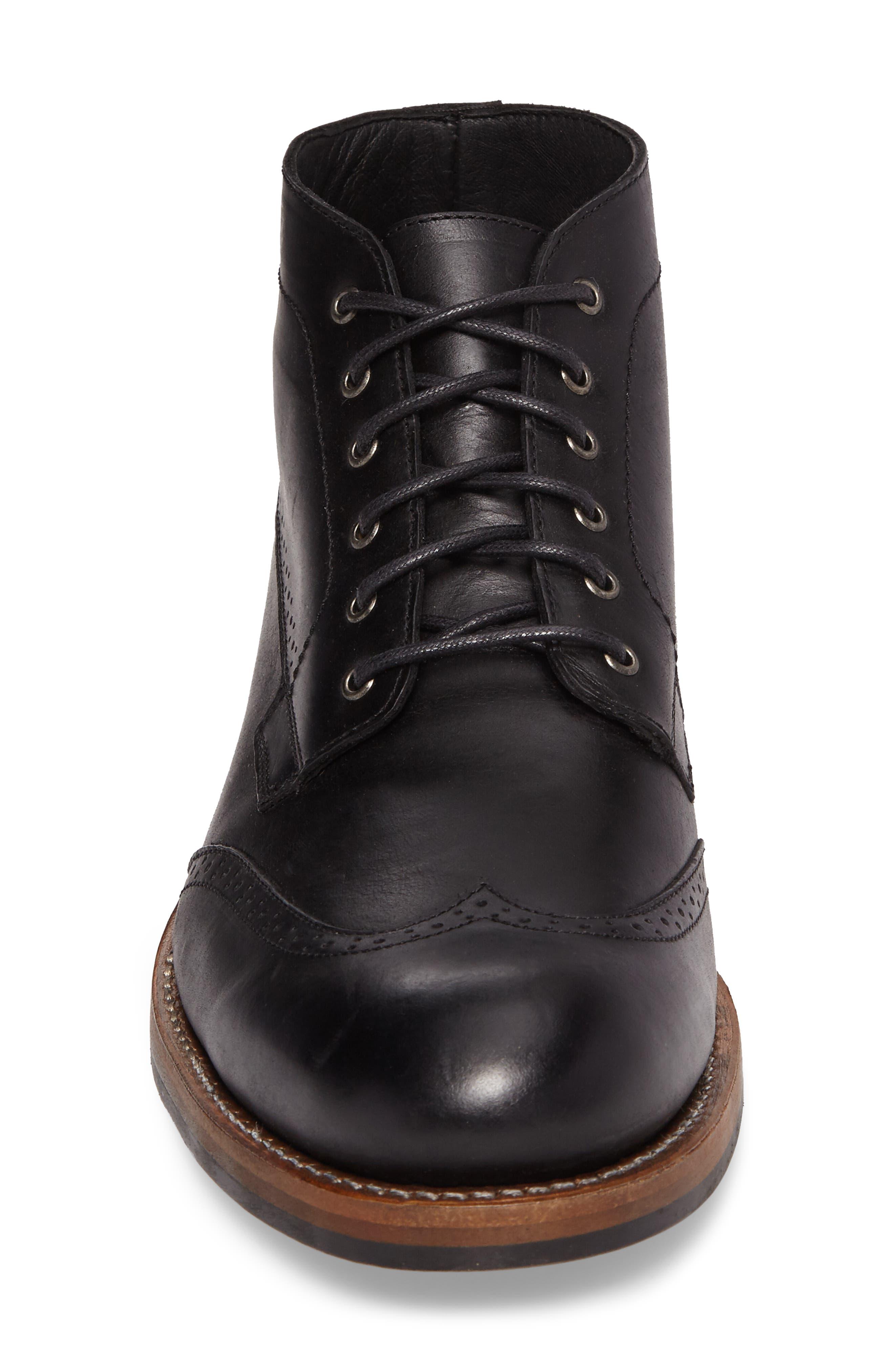 Harwell Wingtip Boot,                             Alternate thumbnail 4, color,                             Black