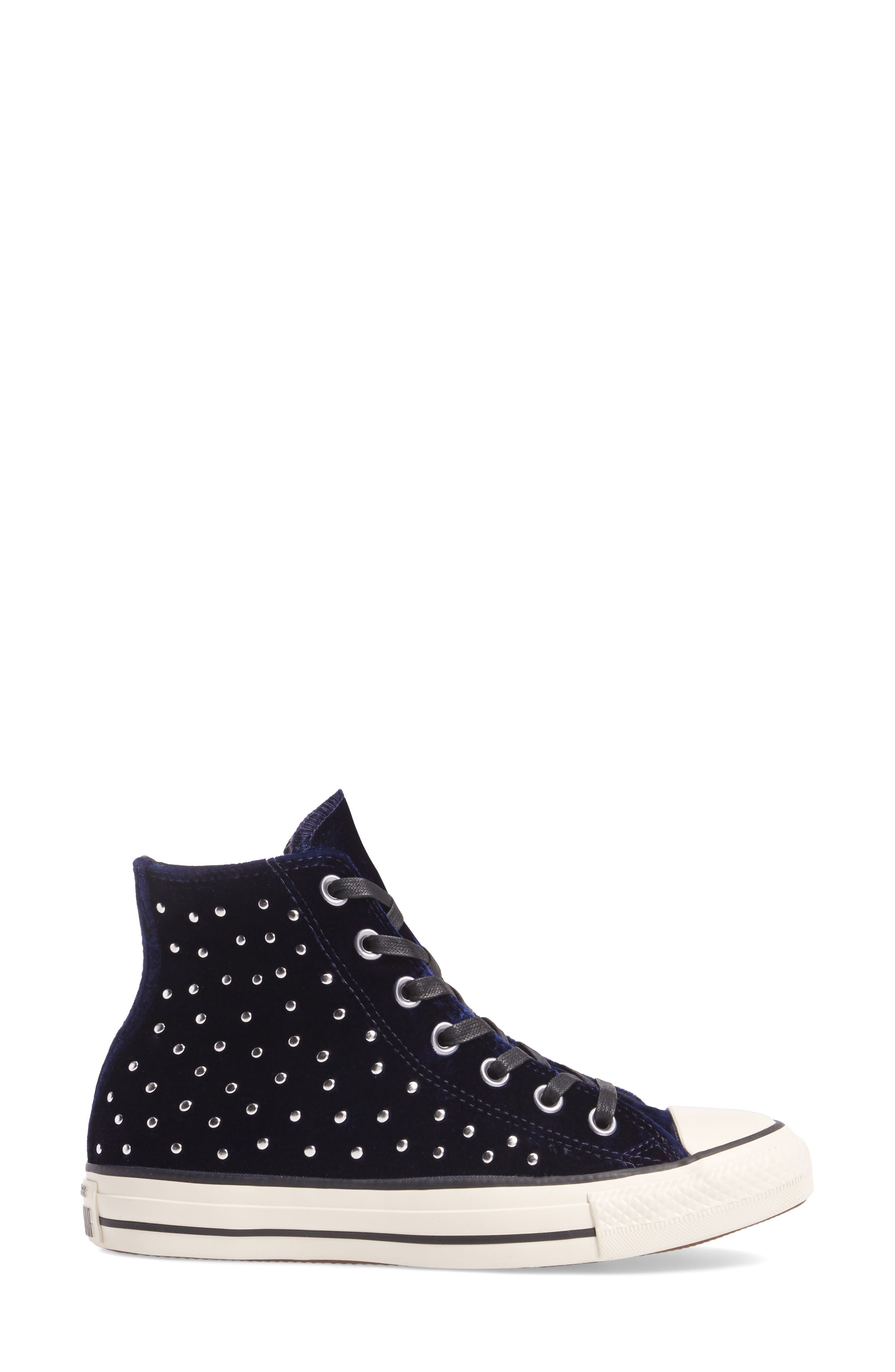 Chuck Taylor<sup>®</sup> All Star<sup>®</sup> Studded High Top Sneakers,                             Alternate thumbnail 3, color,                             Eclipse Velvet
