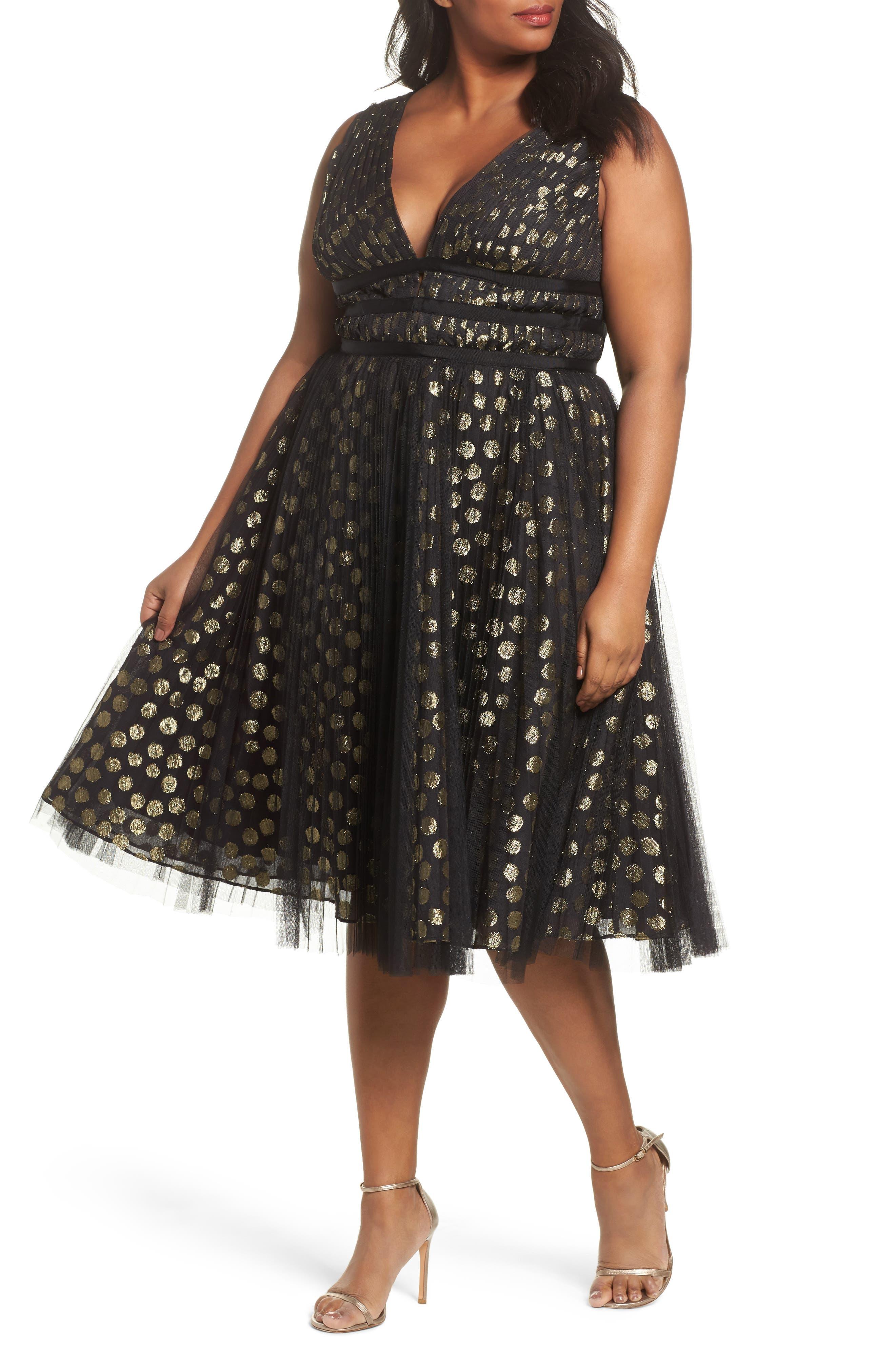 Adrianna Papell Shirred Metallic Dress (Plus Size)