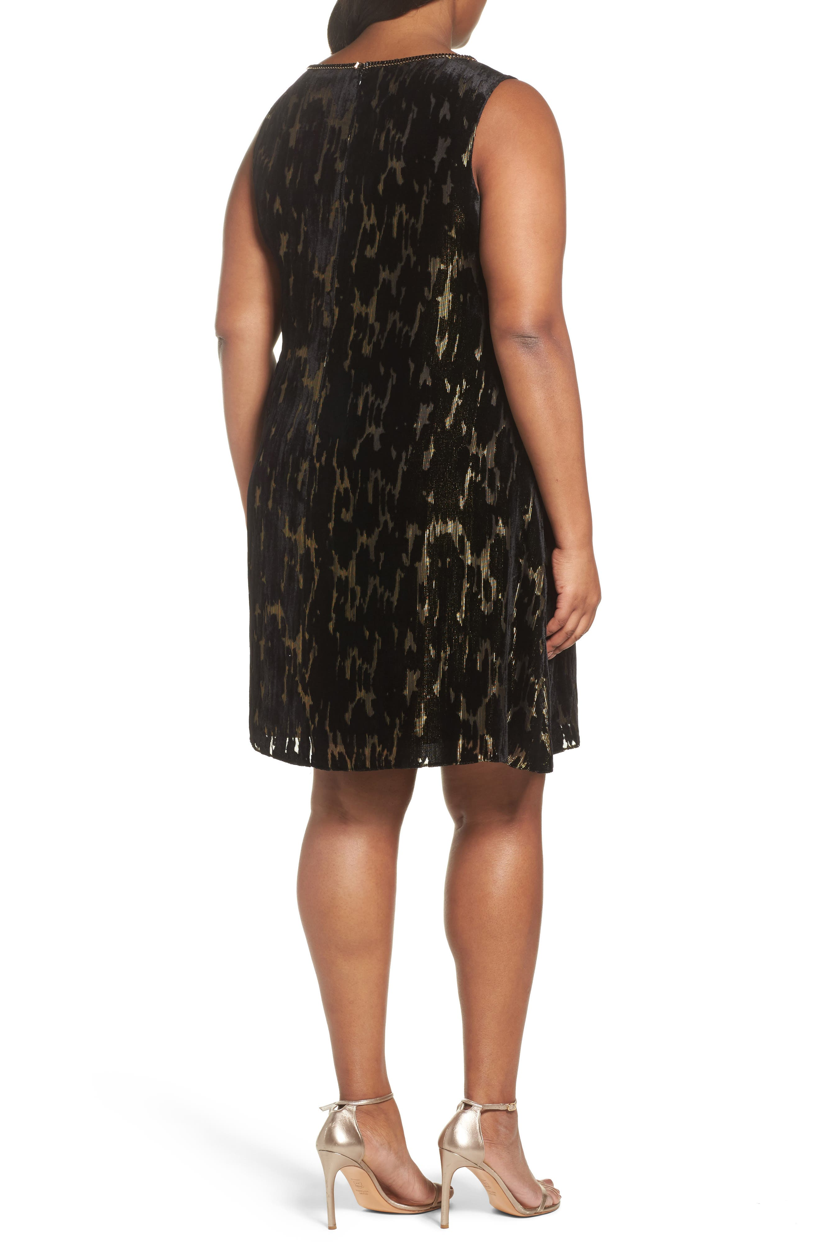 Alternate Image 2  - Tahari Burnout Velvet Dress (Plus Size)