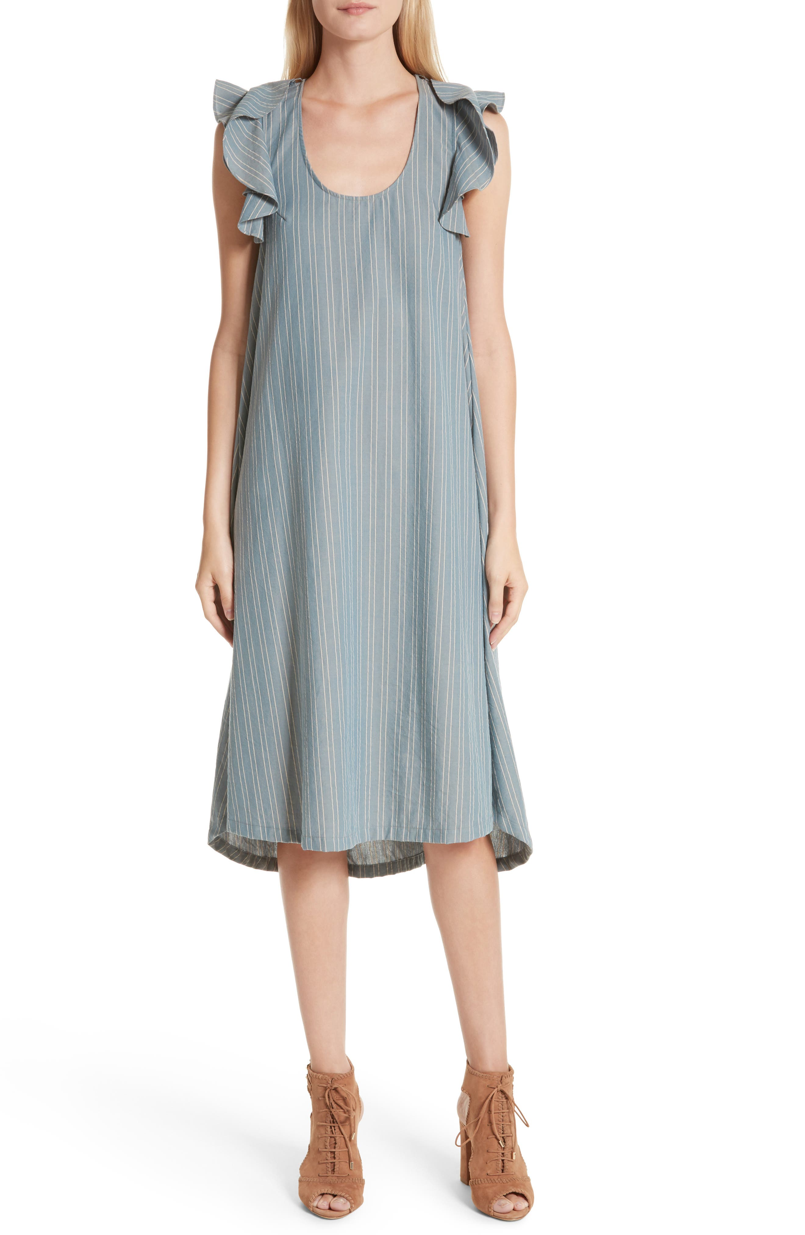 THE GREAT. The Petal Stripe Chambray Dress