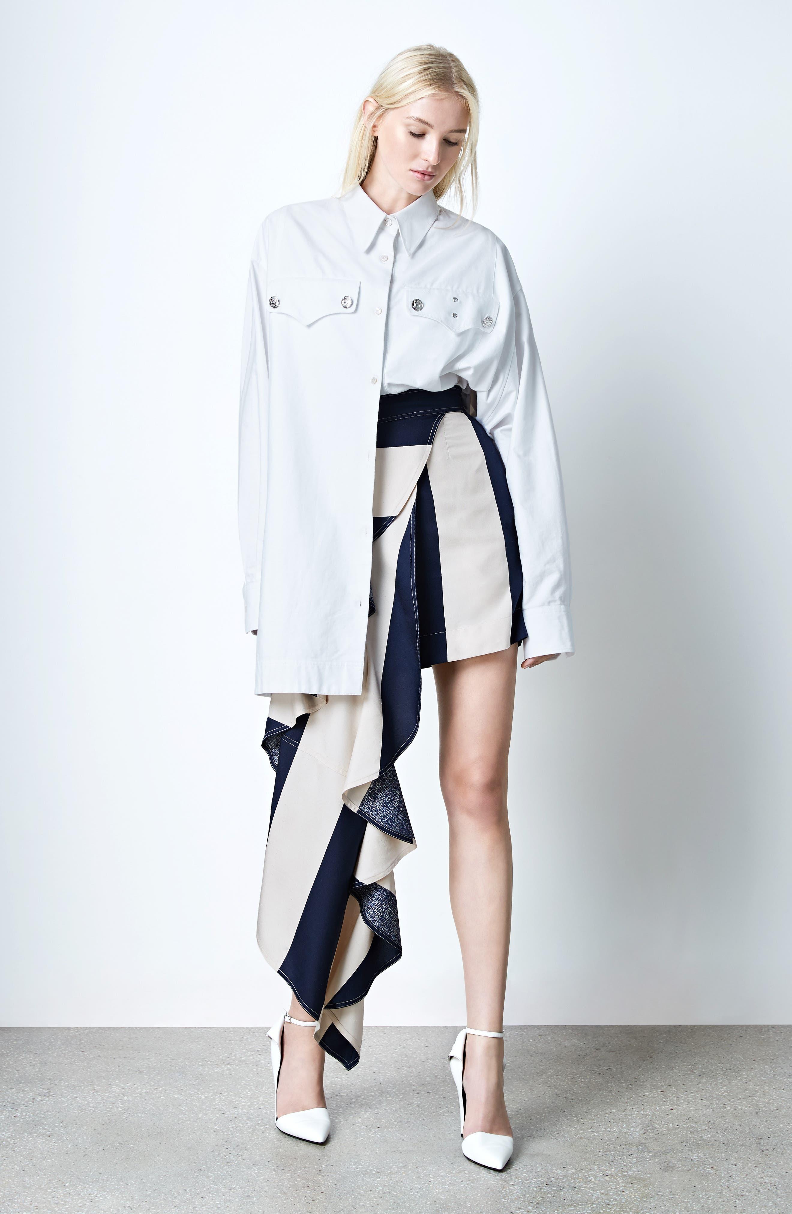 Alternate Image 2  - Calvin Klein 205W39NYC Flag Stripe Silk Shantung Drape Skirt