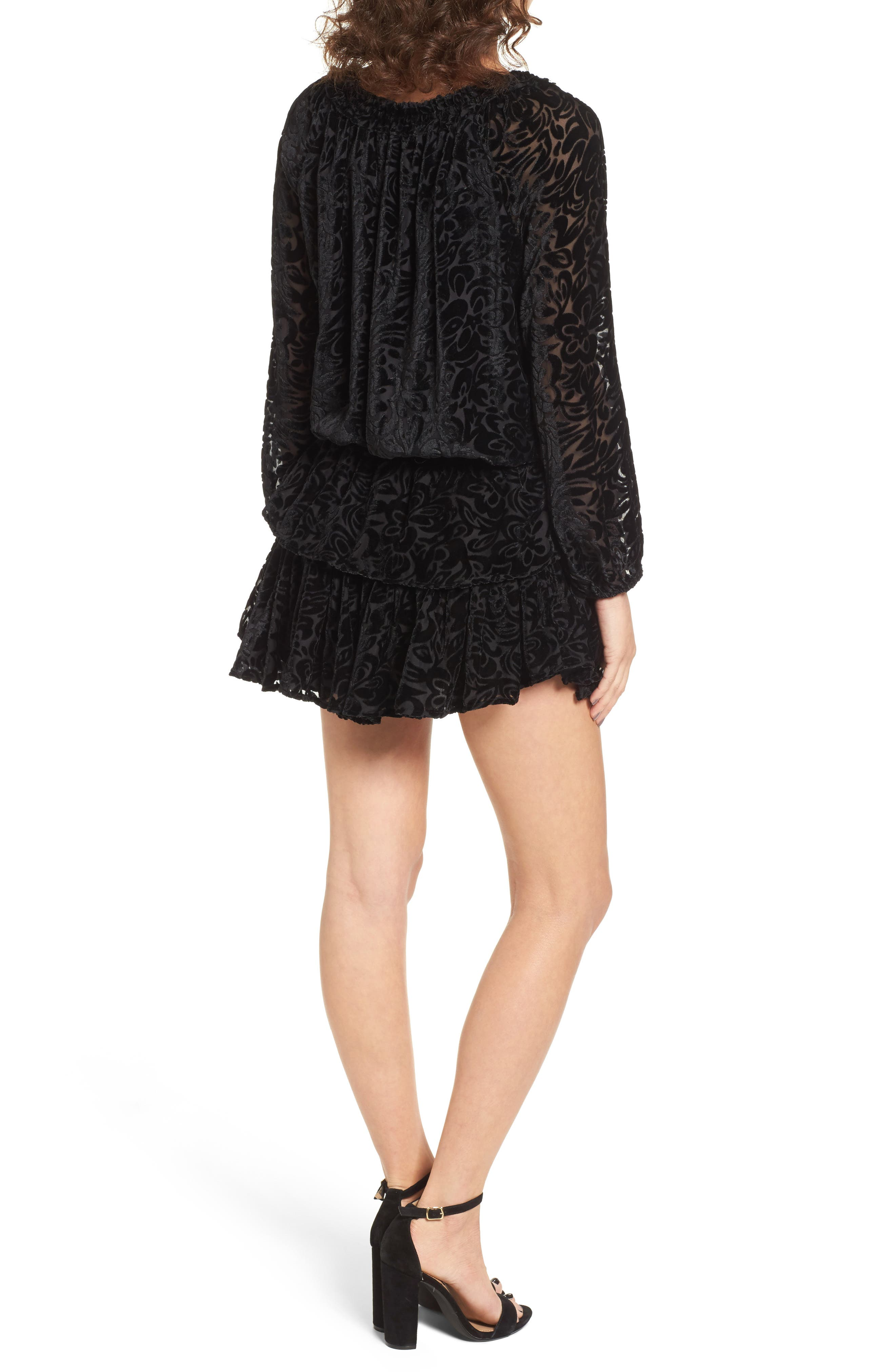 Alternate Image 2  - KAS NEW YORK Ember Velvet Burnout Smocked Dress