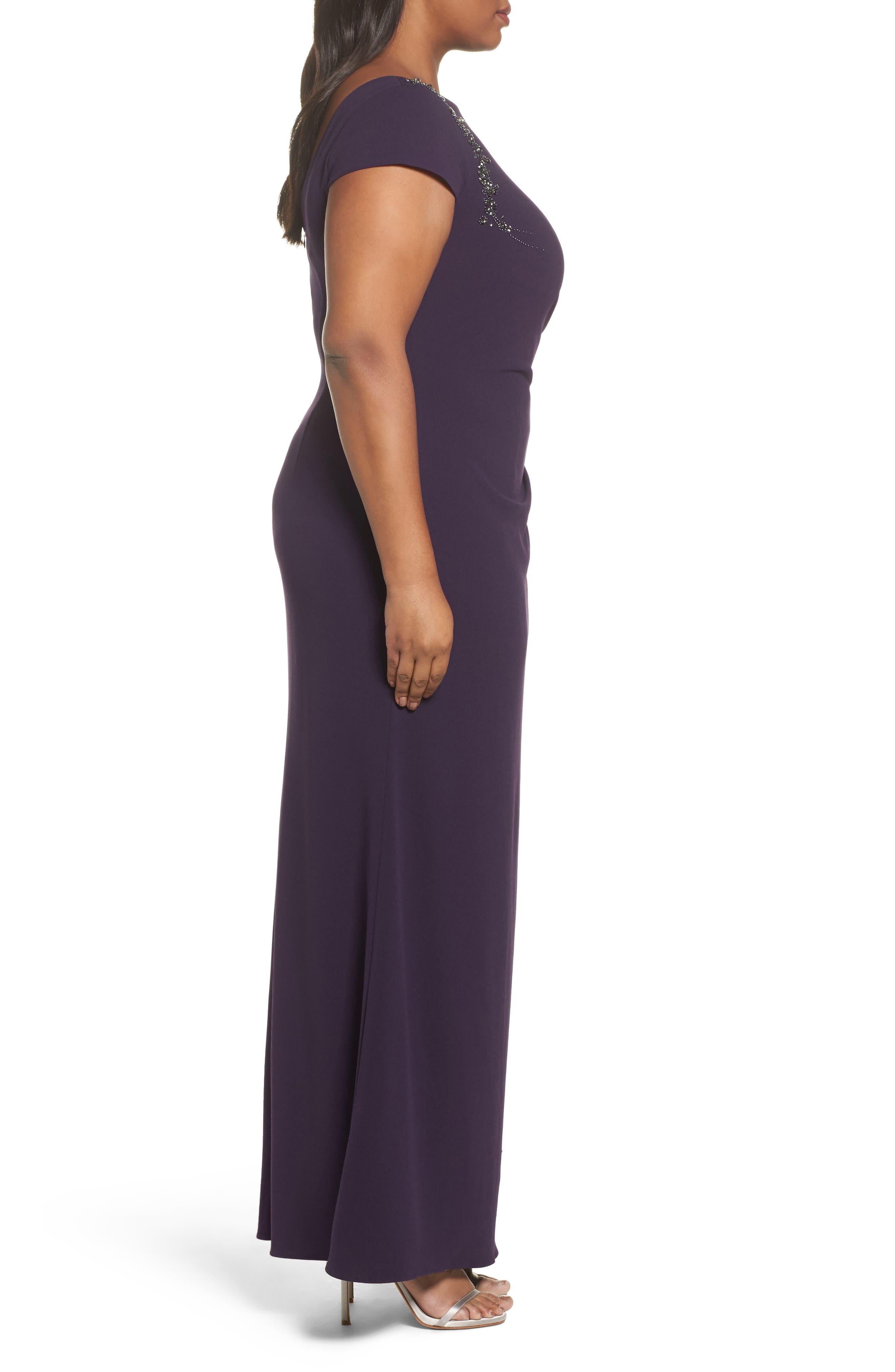 Long Beaded Shoulder Dress,                             Alternate thumbnail 3, color,                             Aubergine