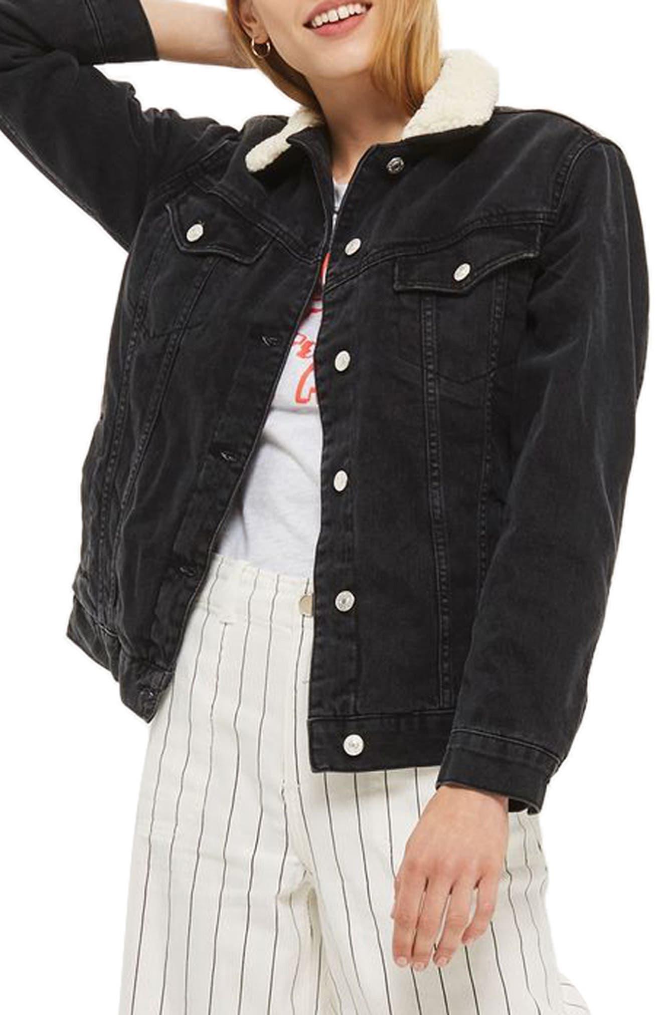 Borg Oversize Denim Jacket,                         Main,                         color, Washed Black