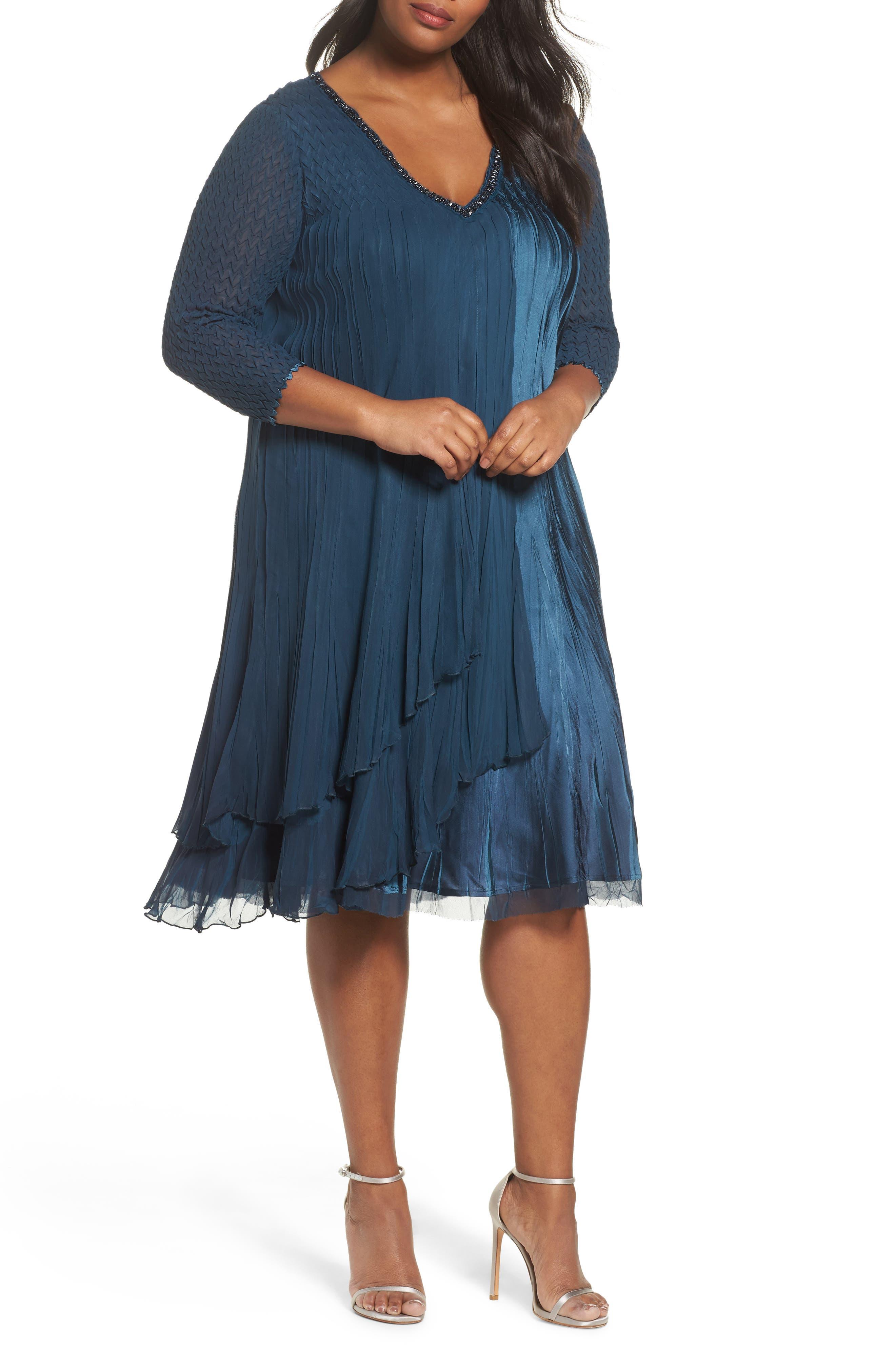 Beaded Neck Chiffon Dress,                         Main,                         color, Moroccan Blue Night