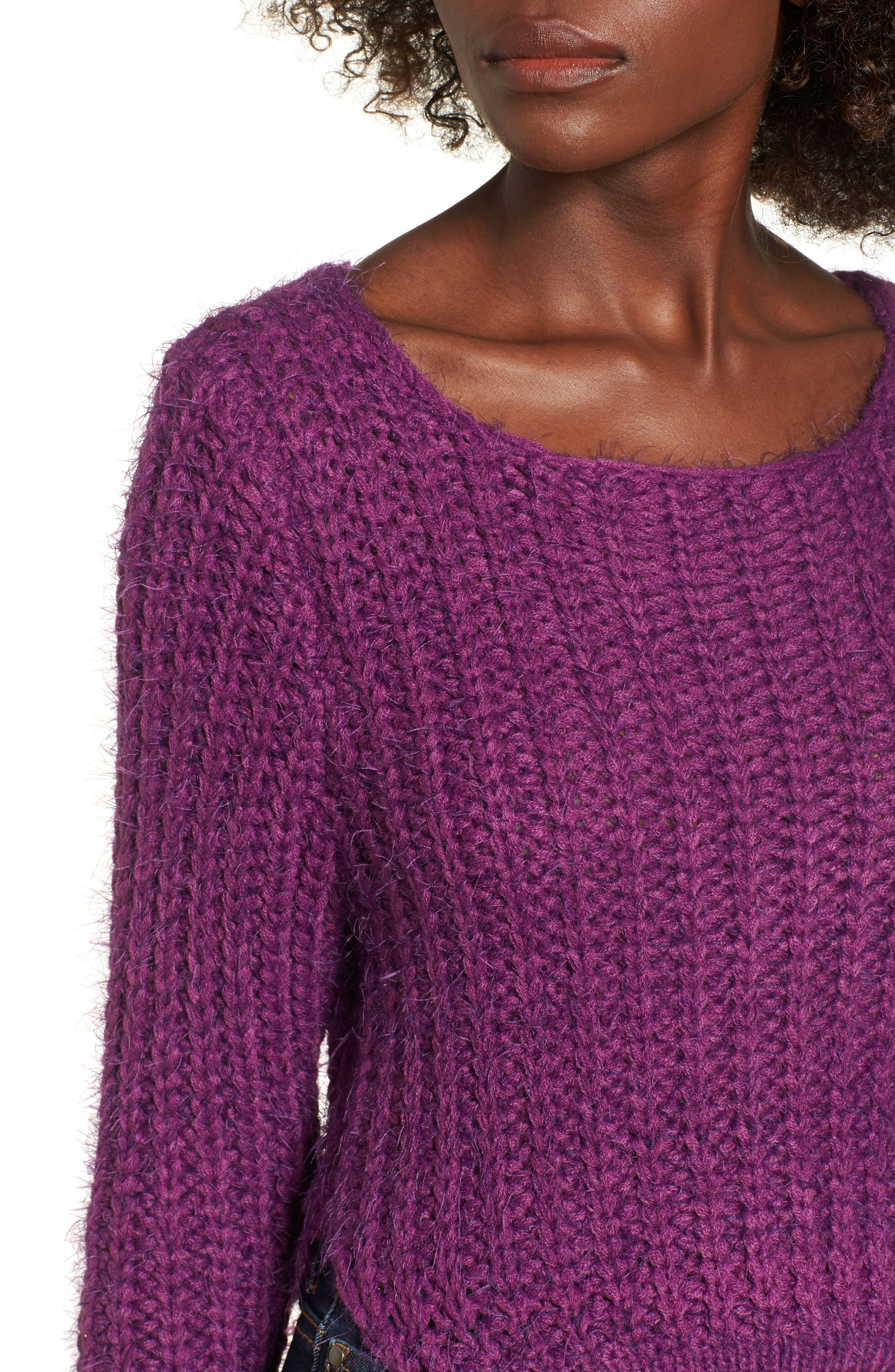 Bethany Crop Sweater,                             Alternate thumbnail 5, color,                             Purple