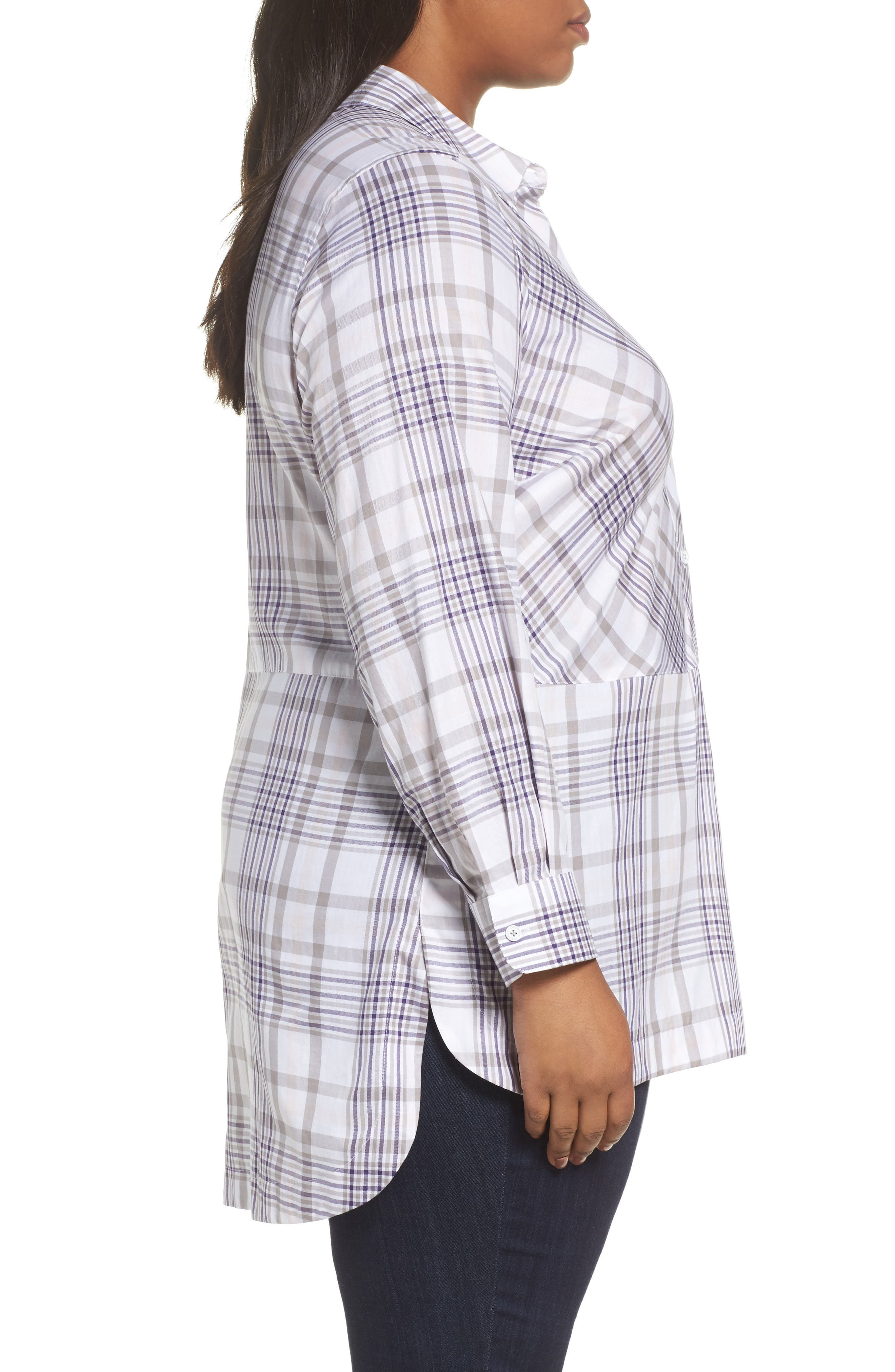 Alternate Image 3  - Foxcroft Maddy Winter Plaid Shirt (Plus Size)