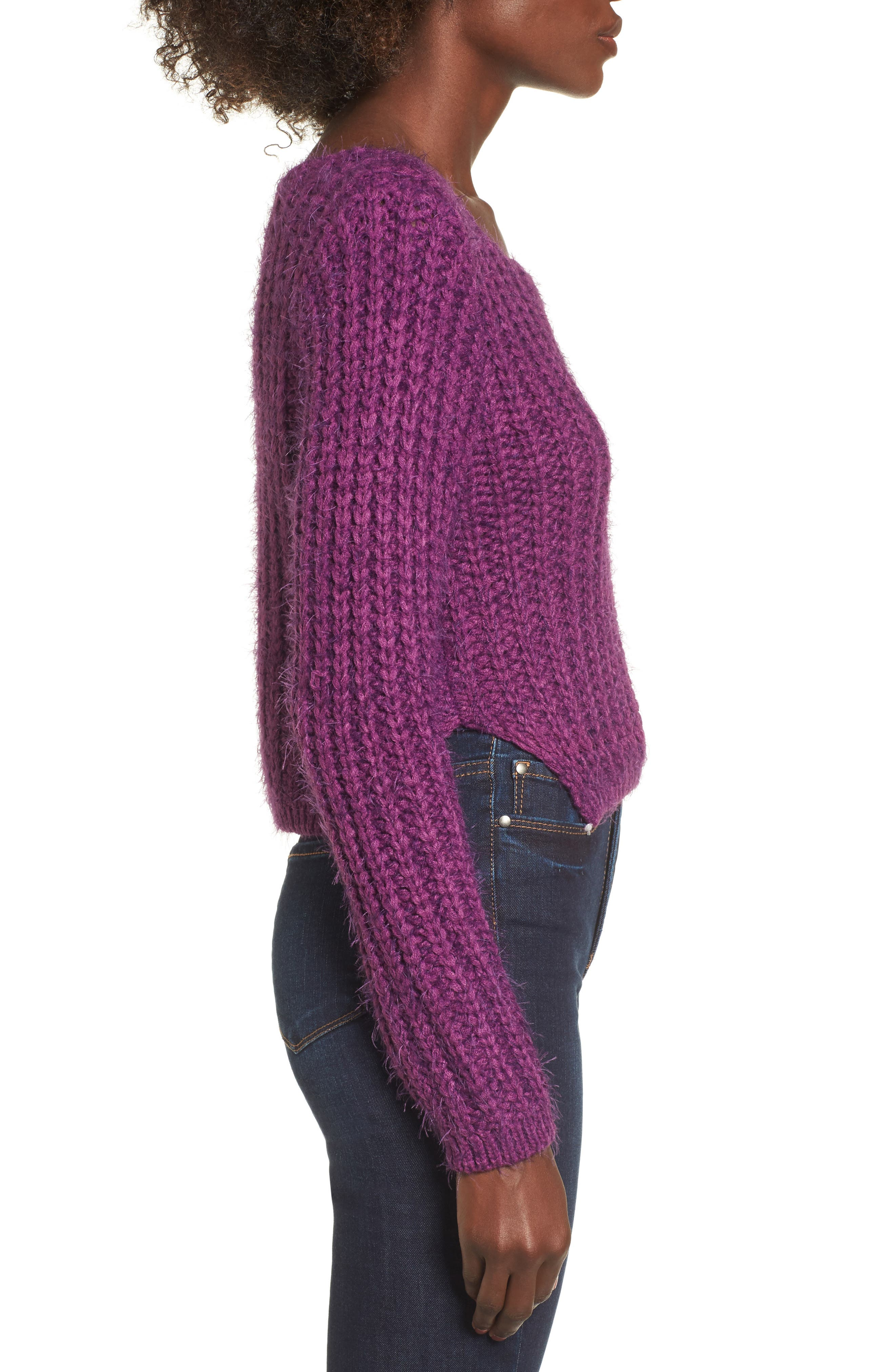 Bethany Crop Sweater,                             Alternate thumbnail 4, color,                             Purple