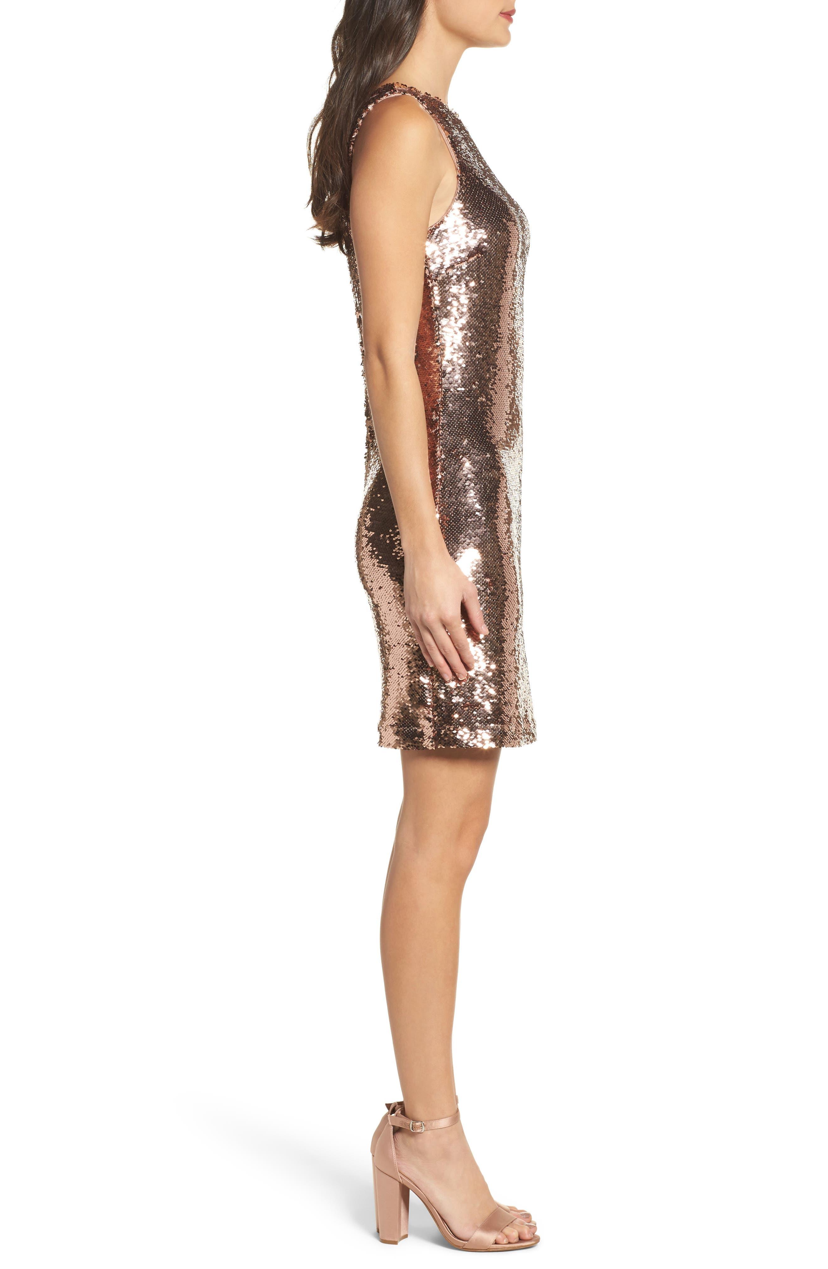 Garland Sequin Sheath Dress,                             Alternate thumbnail 3, color,                             Rose Gold
