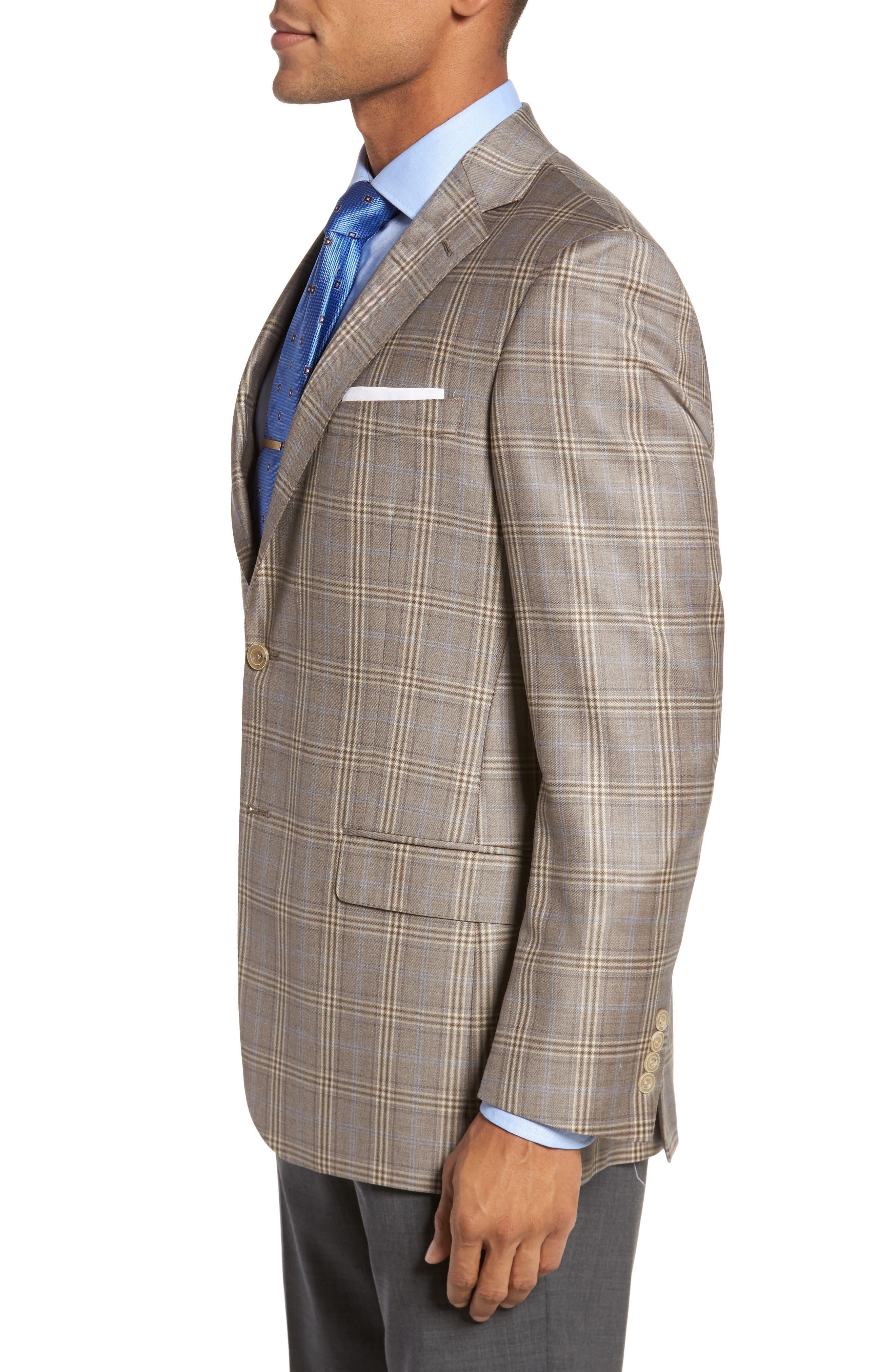 Classic Fit Plaid Wool Sport Coat,                             Alternate thumbnail 3, color,                             Light Brown