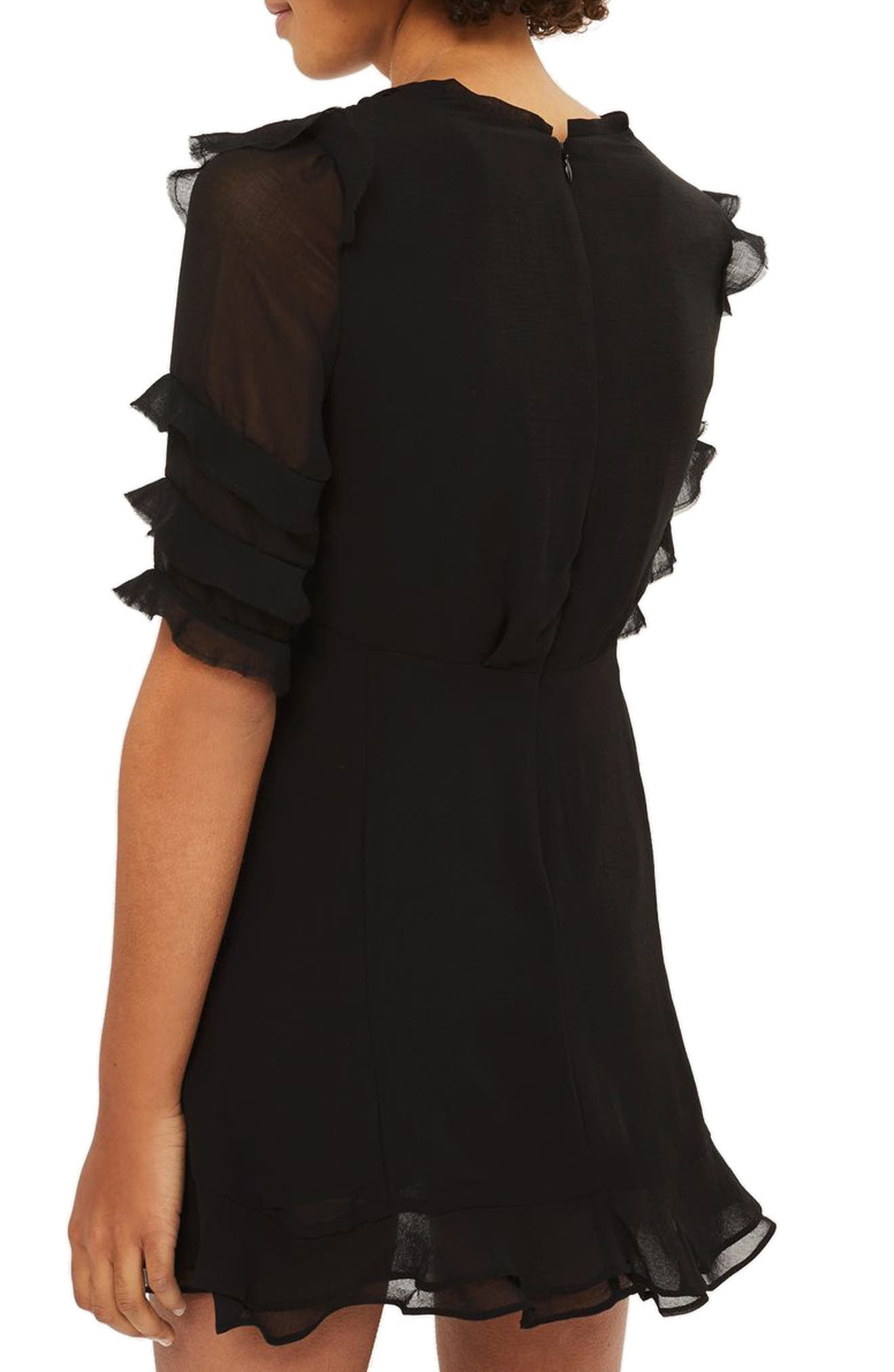 Embroidered Ruffle Detail Dress,                             Alternate thumbnail 3, color,                             Black Multi