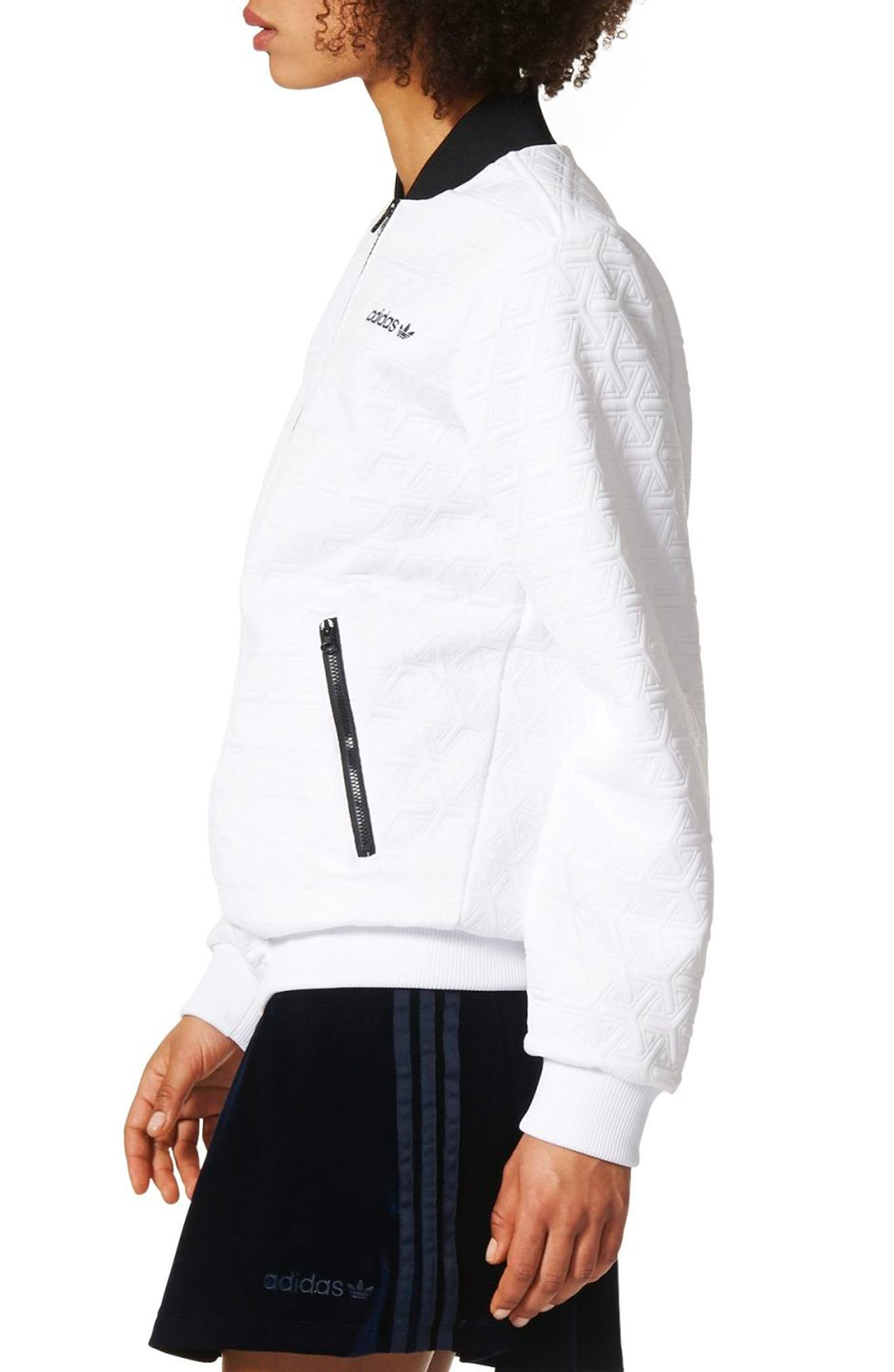 Bomber Track Jacket,                             Alternate thumbnail 3, color,                             White
